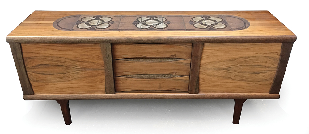 Lot 9 - A 1960's Danish rosewood and tiled dining suite including a sideboard with three drawers and two