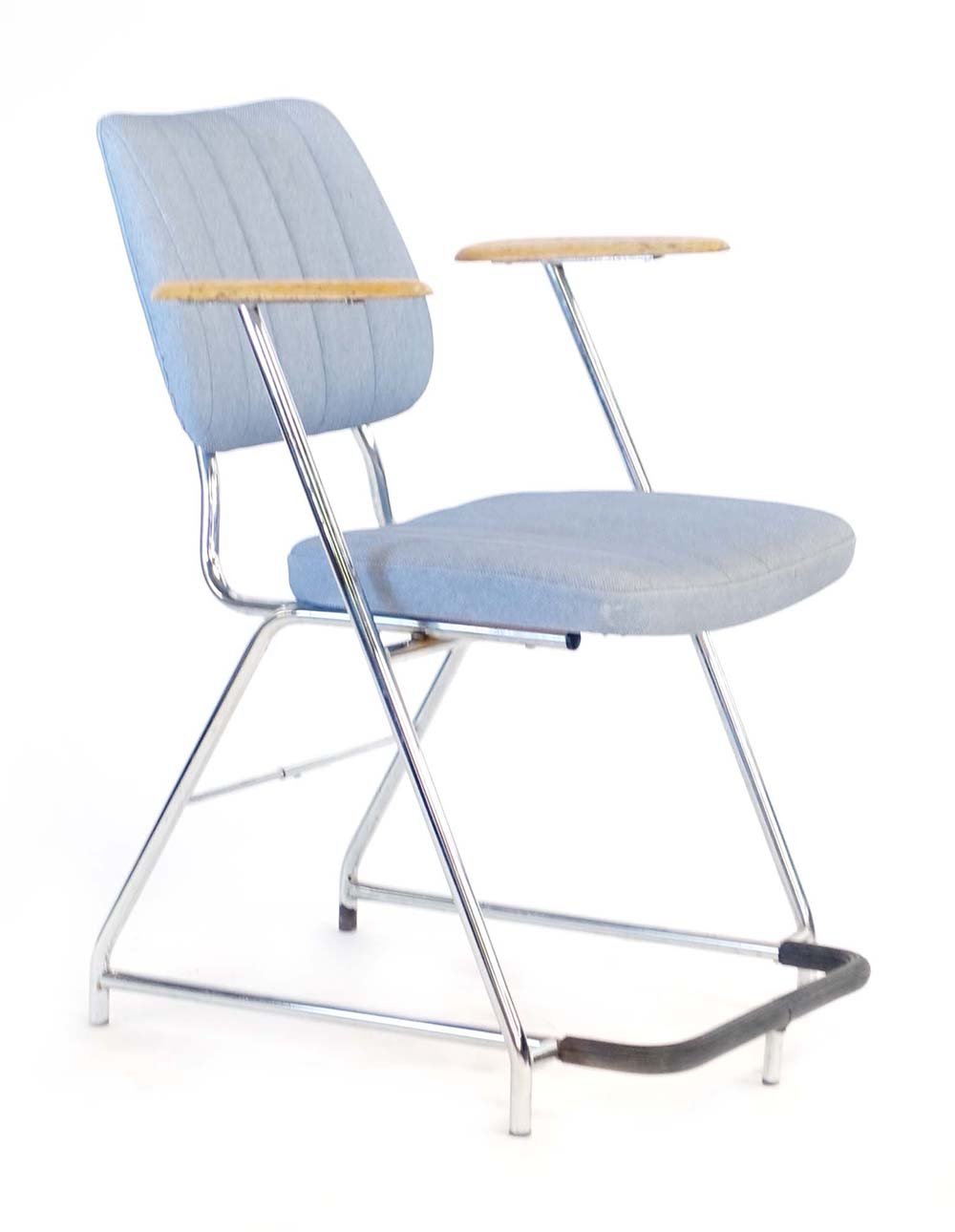 Lot 36 - A 1960/70's laminate office chair on a tubular frame with oak arm rests CONDITION REPORT: