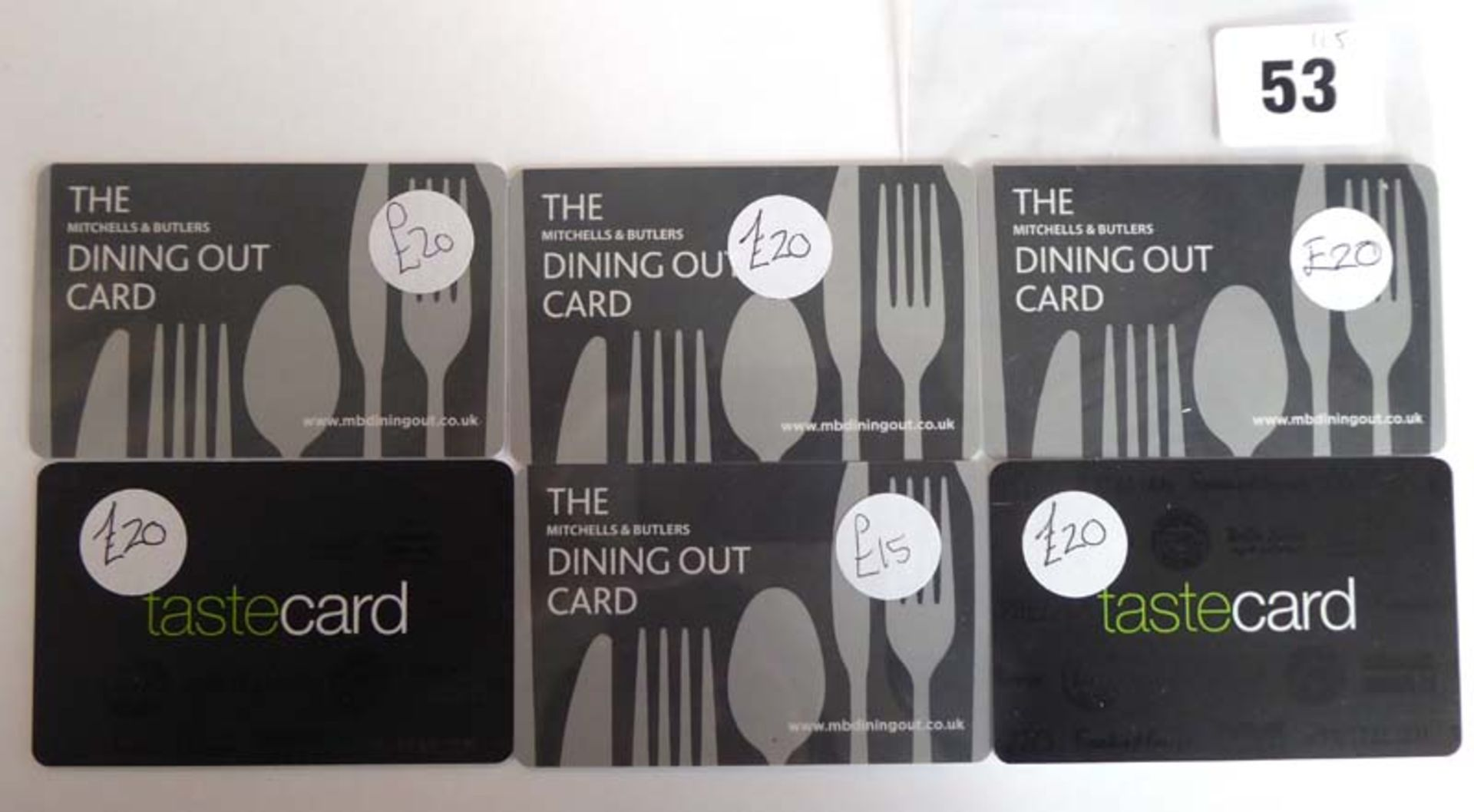 Lot 53 - The Dining Out Card (x6) - Total face value £115