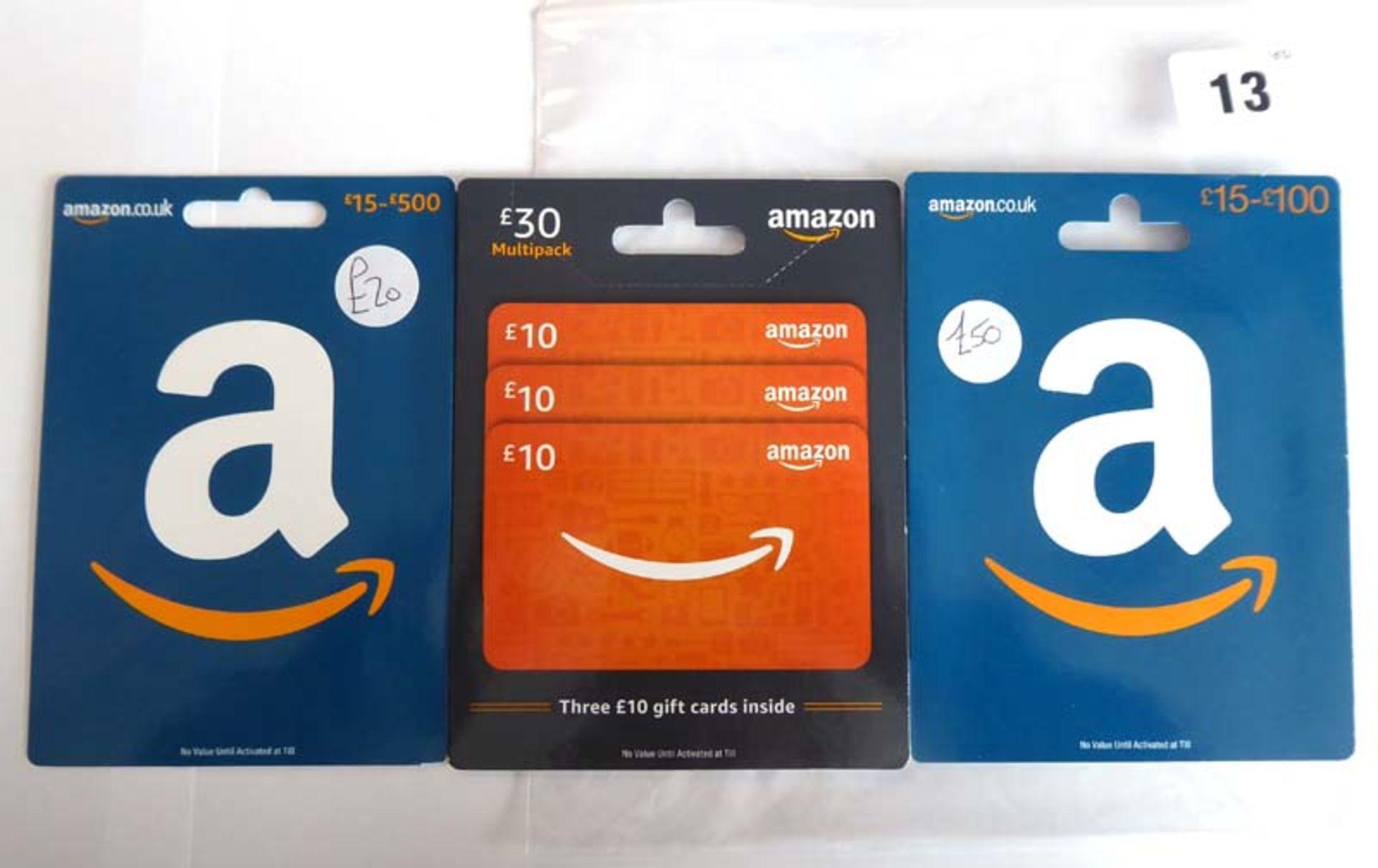 Lot 13 - Amazon (x3) - Total face value £100