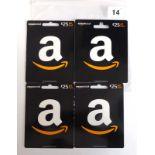 Lot 14 - Amazon (x4) - Total face value £100