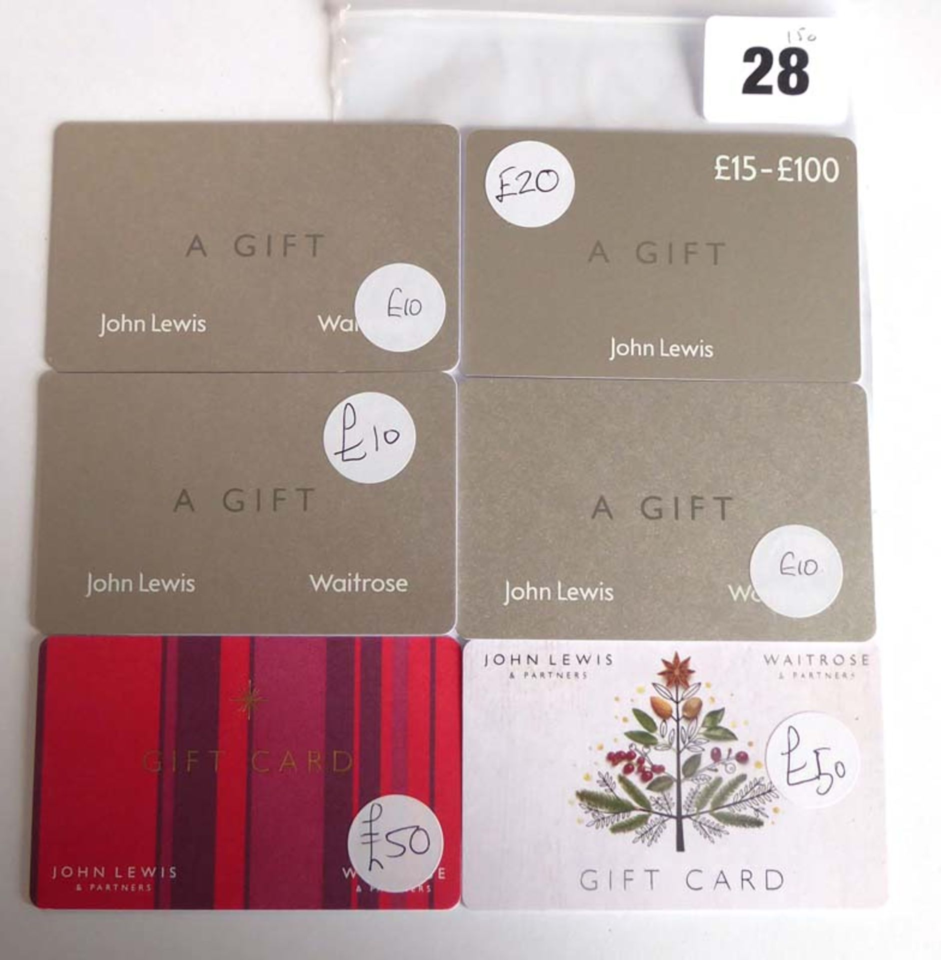 Lot 28 - John Lewis (x6) - Total face value £150