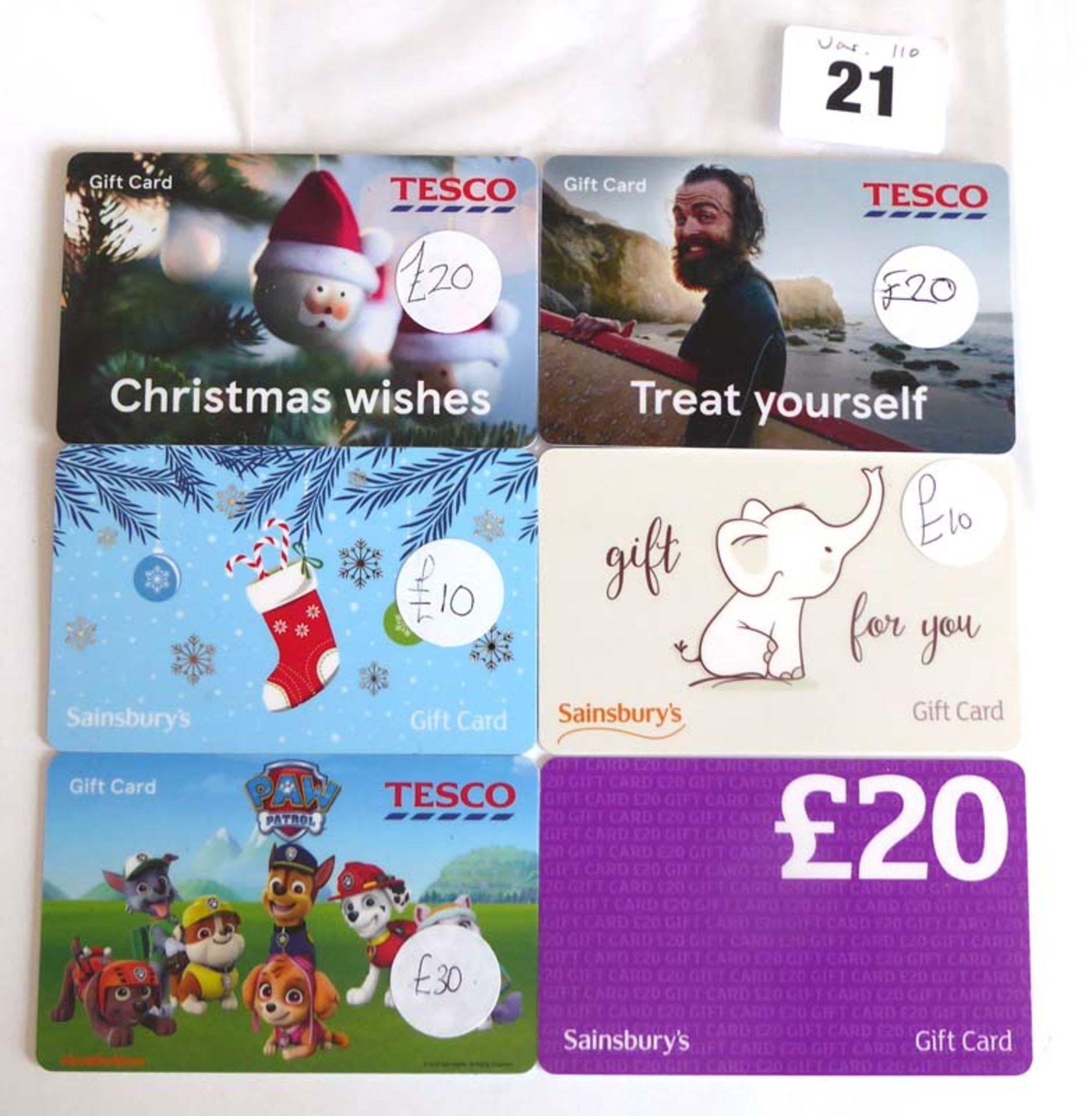 Lot 21 - Sainsbury (x5) - Total face value £80