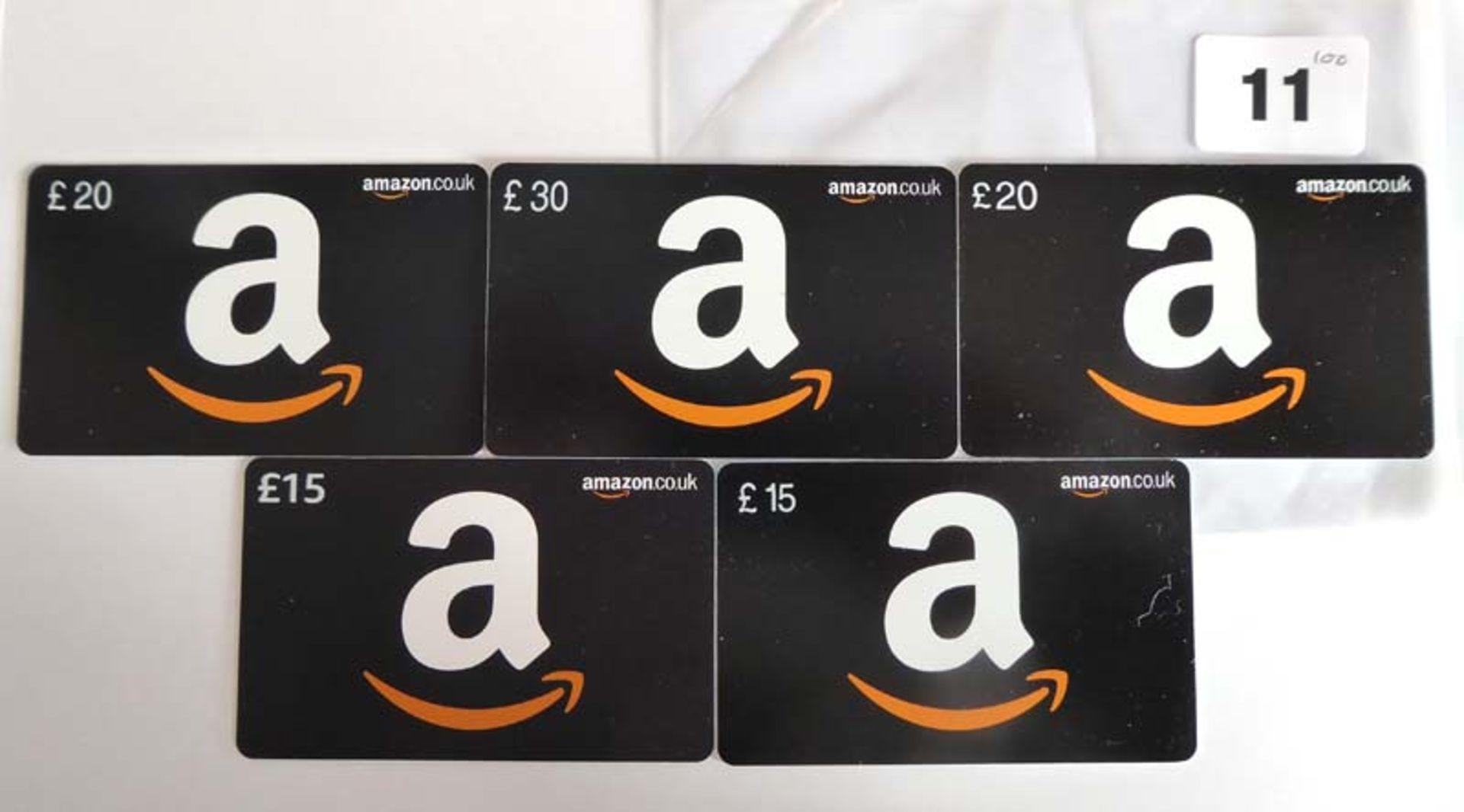 Lot 11 - Amazon (x5) - Total face value £100