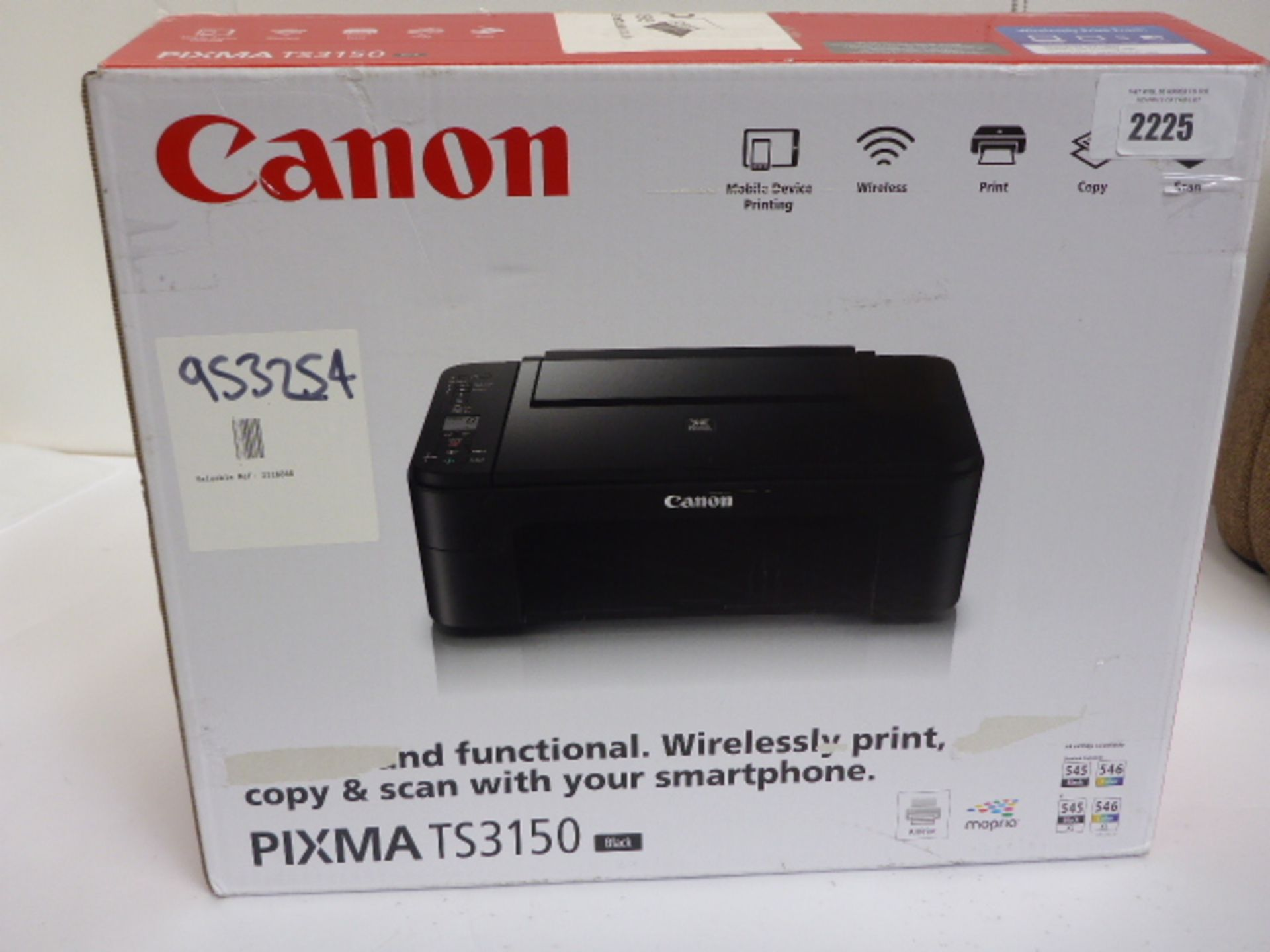 Lotto 2225 - Canon Pixma TS3150 all in one printer in box