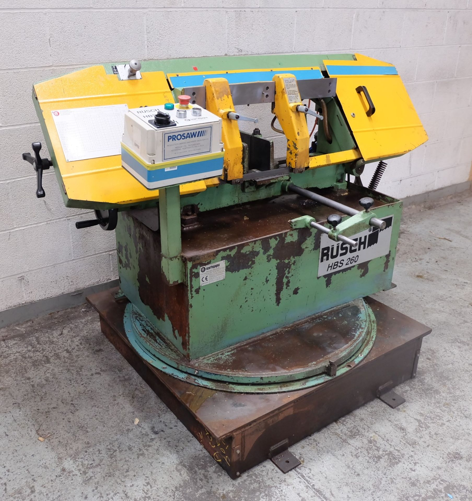 Lot 21 - A Rusch Type HBS260 Horizontal Bandsaw, Variable S