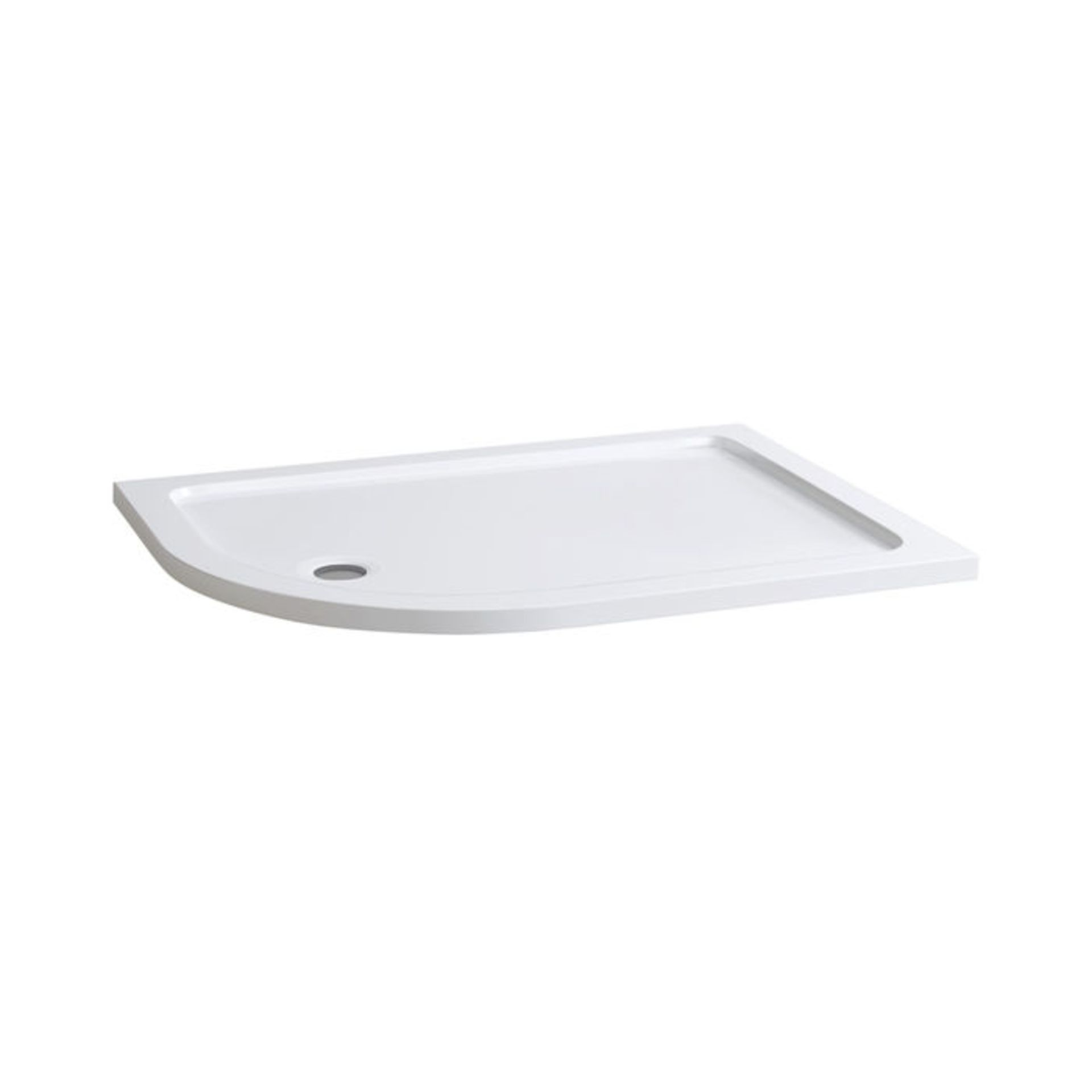 Lot 7 - (W119) 1200x900mm Offset Quadrant Ultra Slim Stone Shower Tray - Left. Low profile ultra slim design