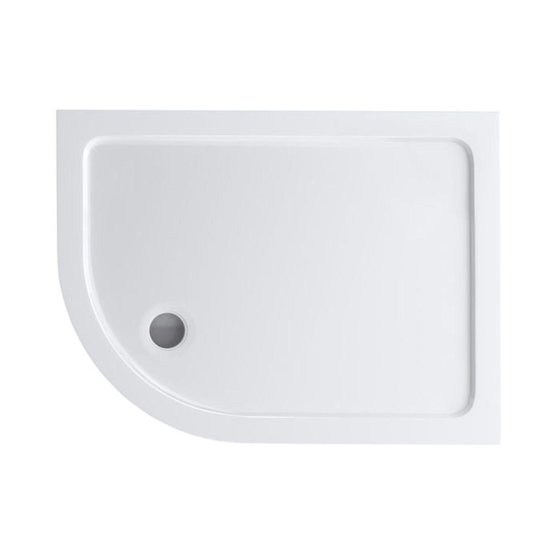 Lot 7 - (W119) 1200x900mm Offset Quadrant Ultra Slim Stone Shower Tray - Left. Low profile ultra slim design