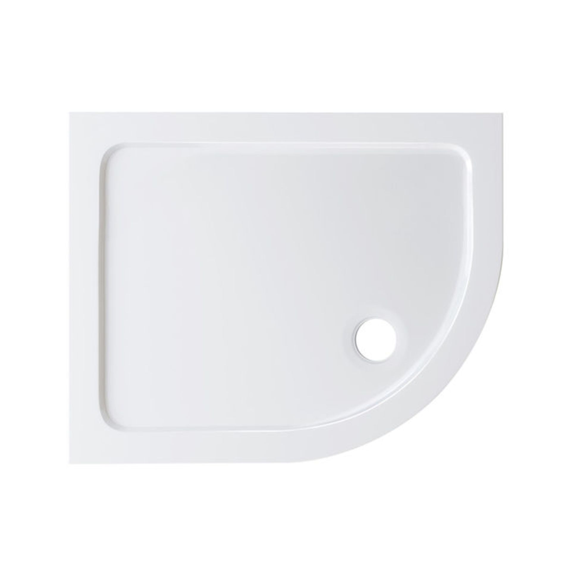 Lot 6 - (W118) 1000x800mm Offset Quadrant Ultra Slim Stone Shower Tray - Right. RRP £249.99. Low profile