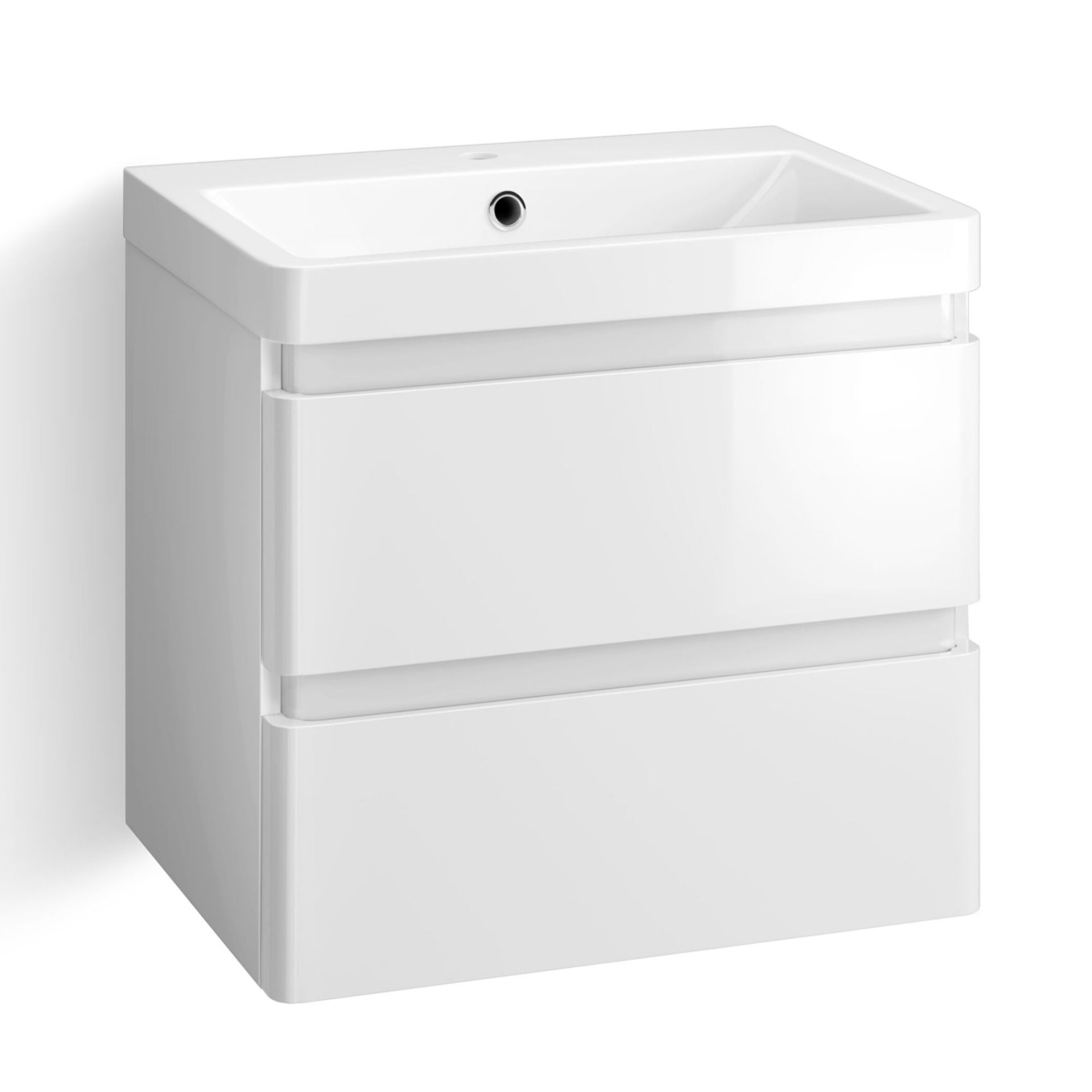 Lot 54 - (SP40) 600mm Denver Gloss White Built In Basin Drawer Unit - Wall Hung. RRP £499.99. Comes