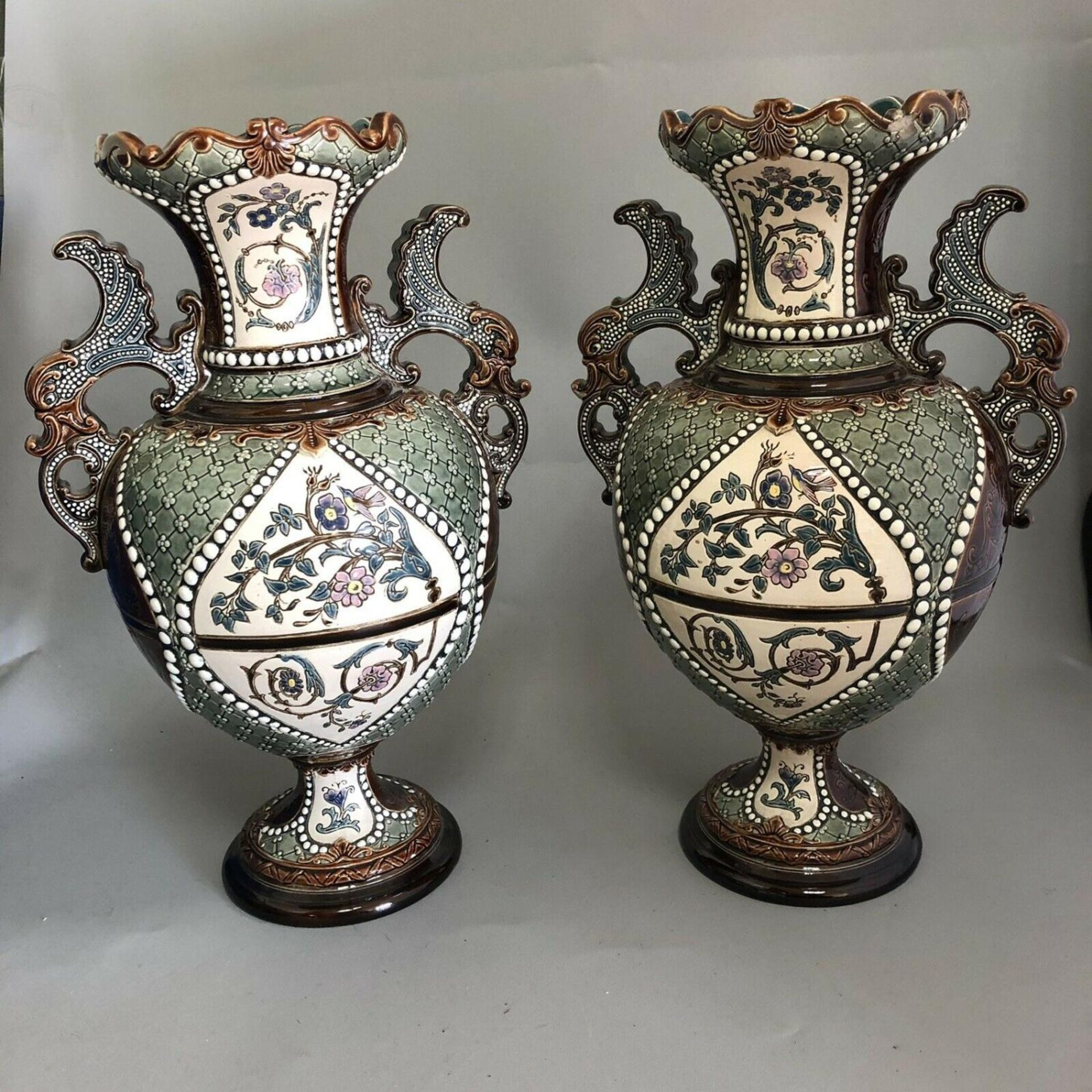 Lot 46 - Pair of Antique Austrian Gerbing & Stephan Majolica Pottery Vases c.1880