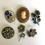 Lot 27 - A group of vintage costume jewellery brooches - (6) - No reserve