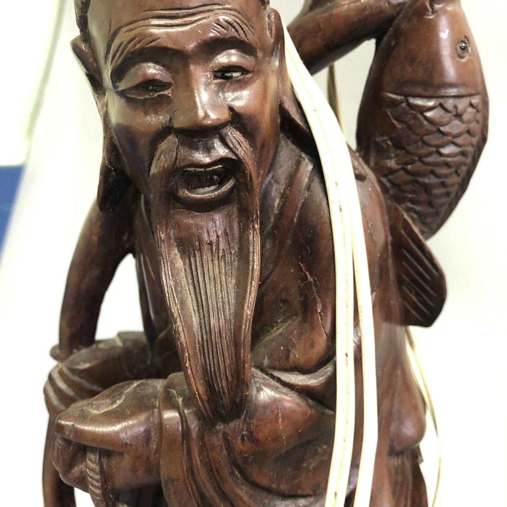 Lot 17 - Vintage Oriental Carved Wooden Figural Lamp Base
