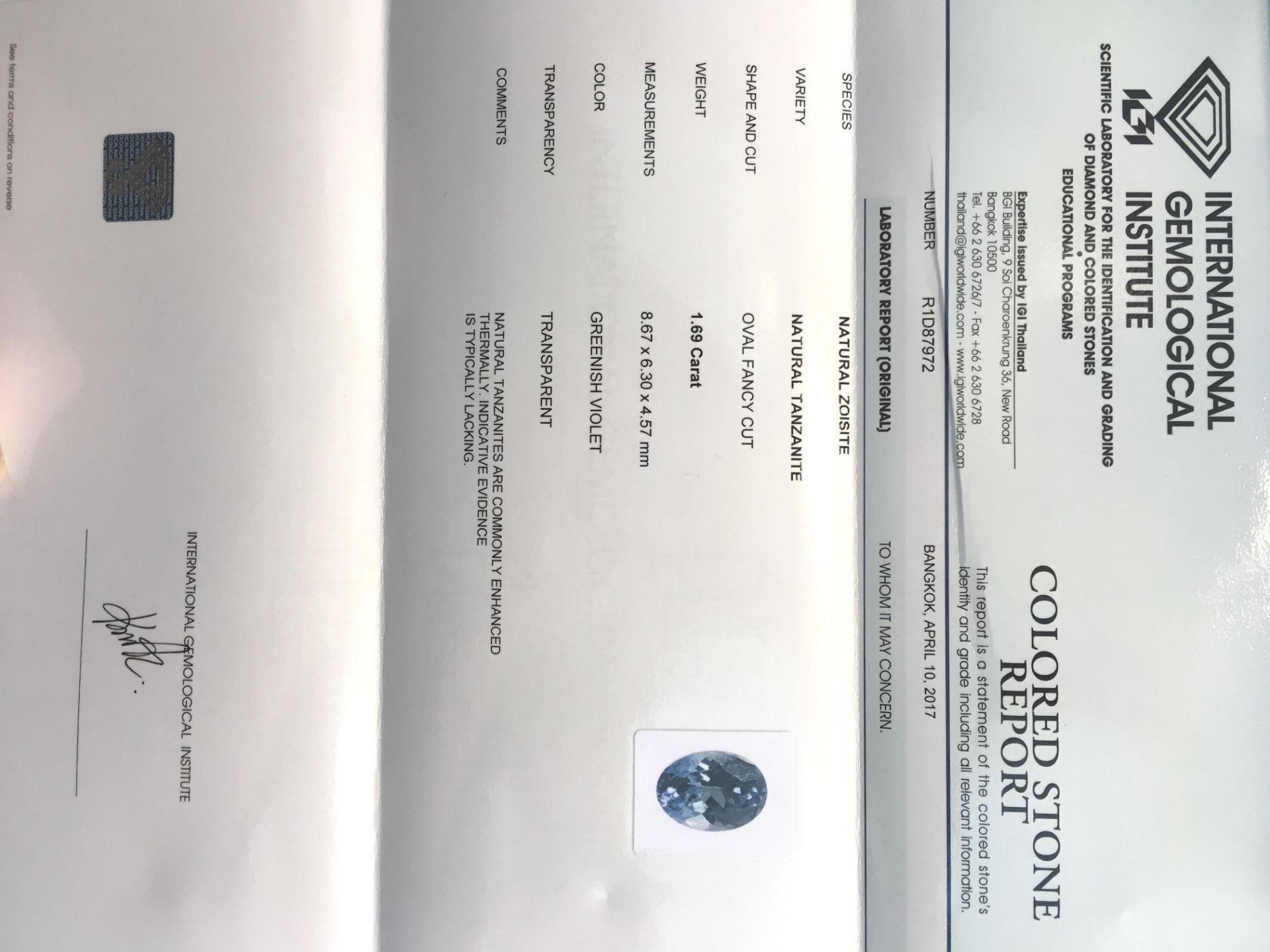 Lot 9 - 1.69ct Natural Tanzanite with IGI Certificate