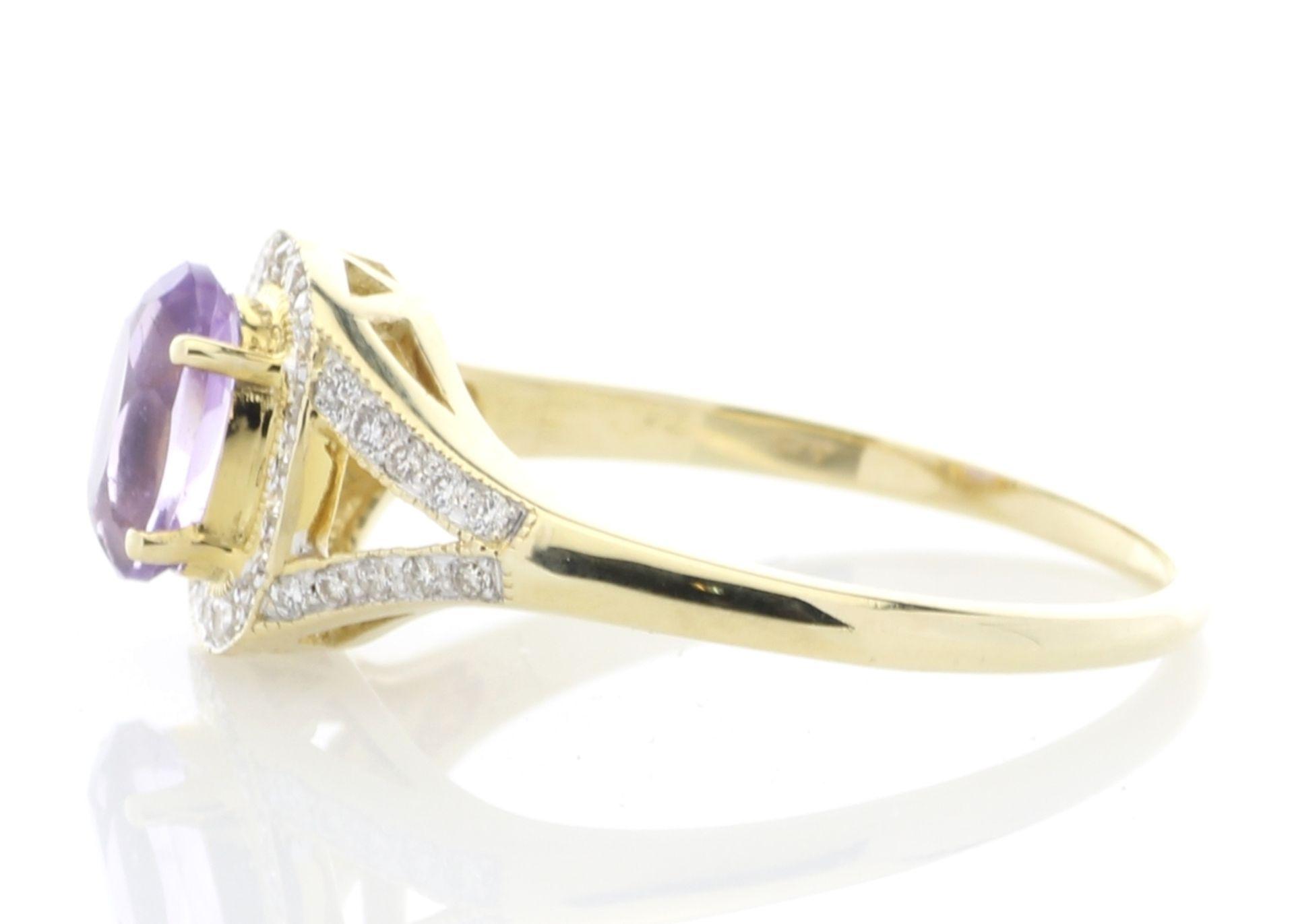 Lot 34 - 9ct Yellow Gold Amethyst And Diamond Halo Set Ring 0.21