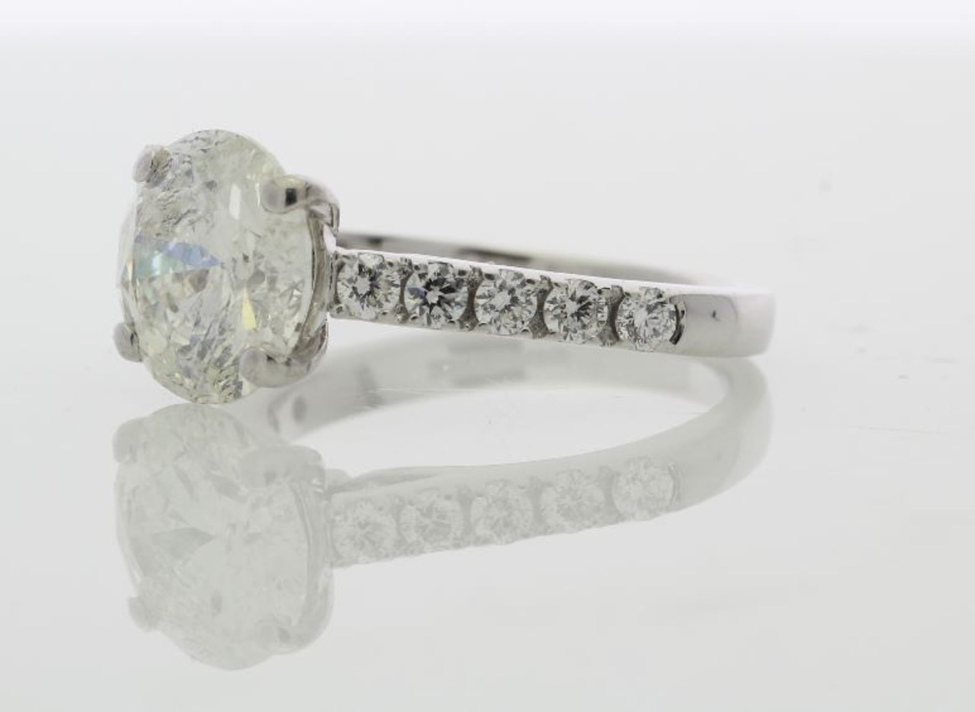 Lot 11 - 18ct White Gold Single Stone Prong Set With Stone Set Shoulders Diamond Ring 3.15
