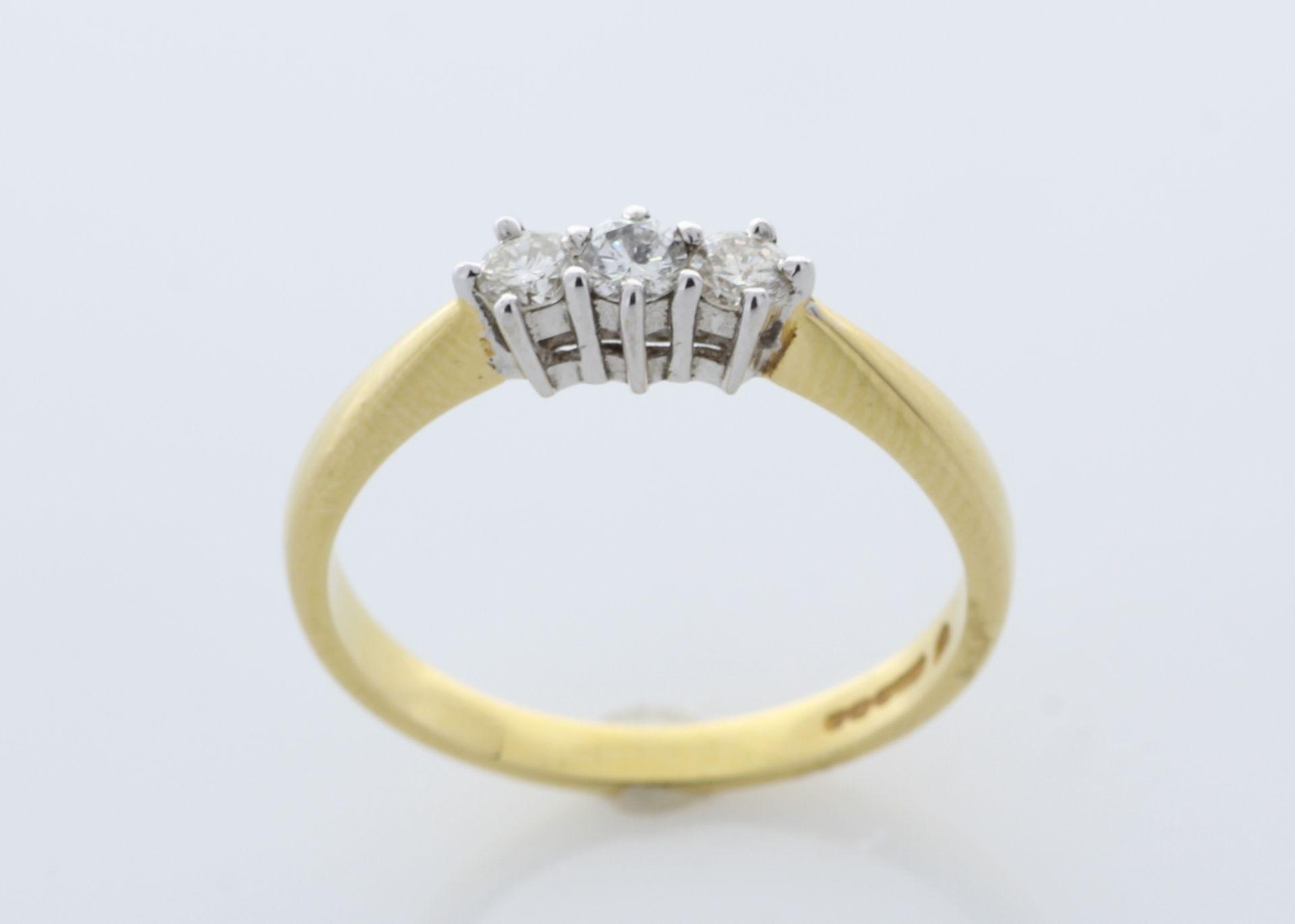 Lot 30 - 9ct Yellow Gold Three Stone Claw Set Diamond Ring 0.25