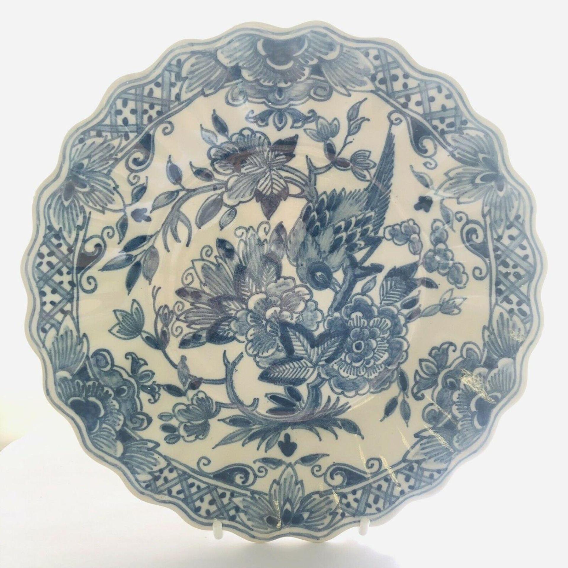 Lot 18 - Royal Makkum Tichelaar Blue & White Delftware Wall Plate Pattern No 1041