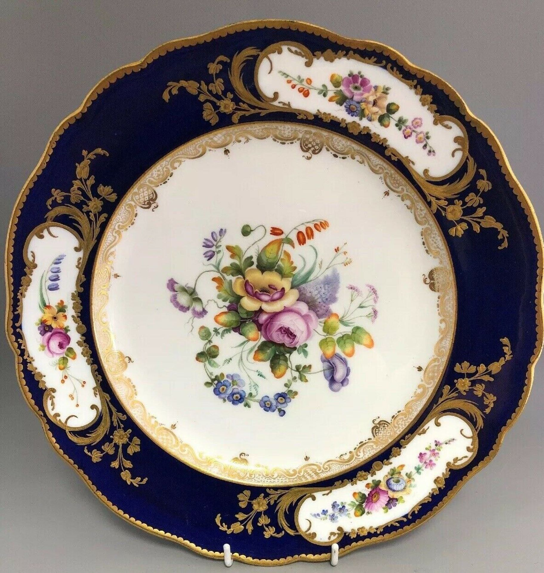 Lot 6 - Antique Coalport Porcelain Cabinet Plate Sparks Worcester Queen Adelaide C 1845