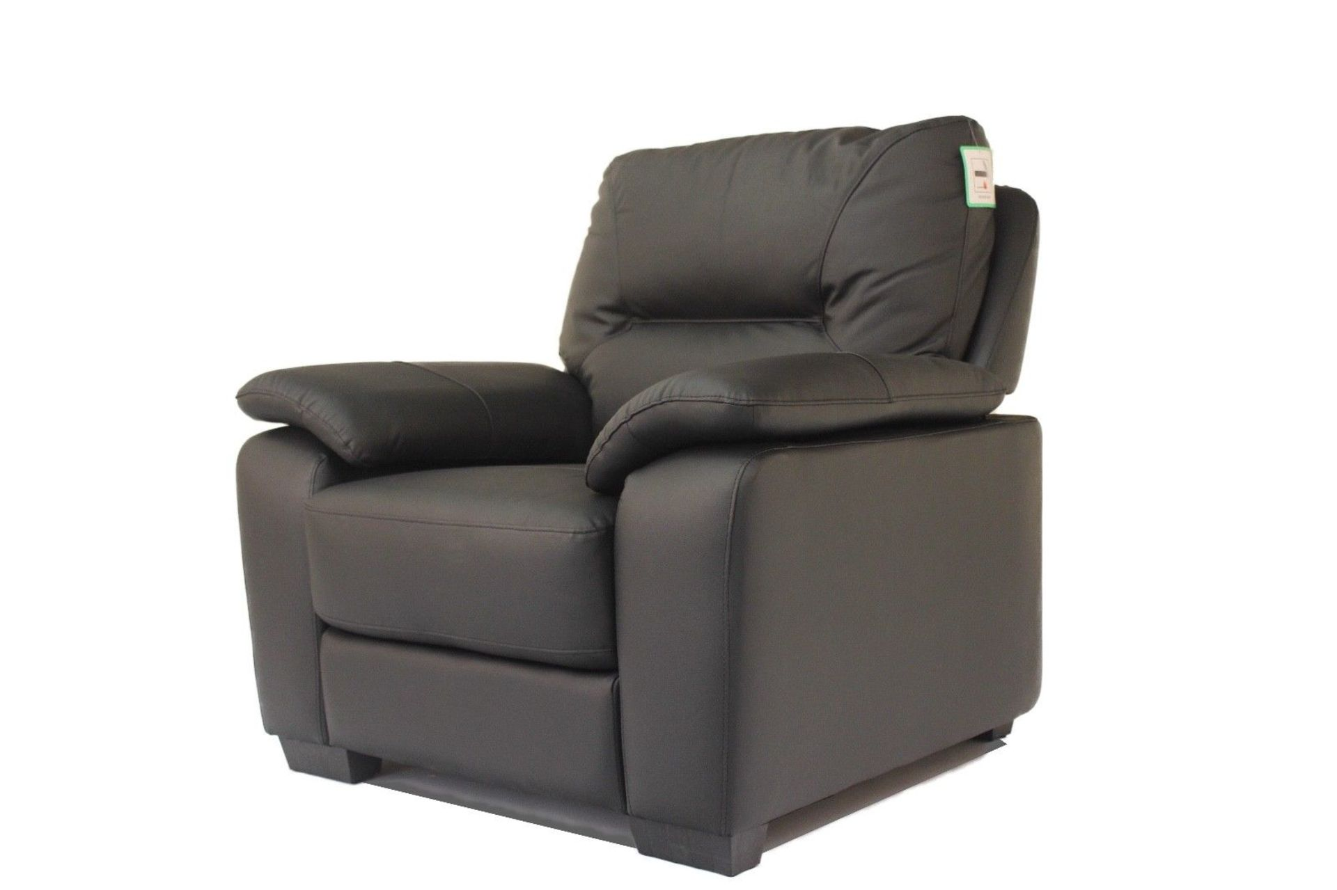 Lot 18 - Stamford BLACK Single Seat Real Leather Chair - No Reserve