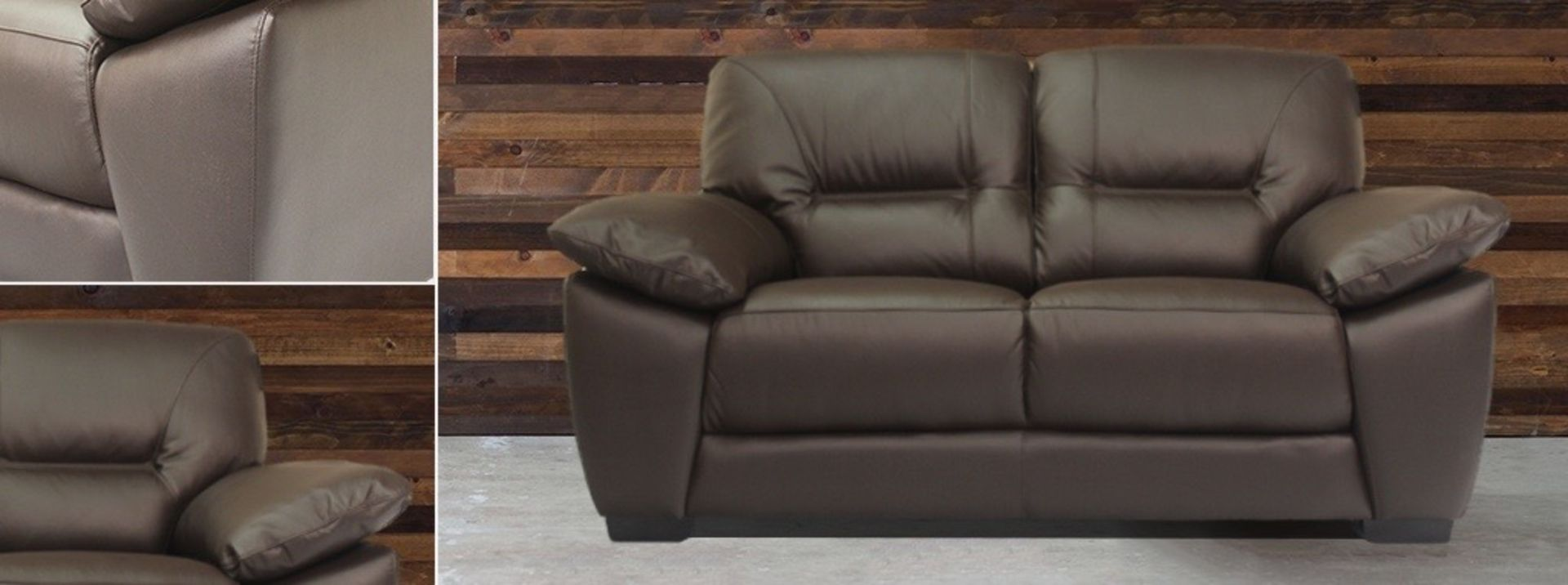 Lot 10 - Brown 2 Seat - Real Leather Sofa - Burghley Range