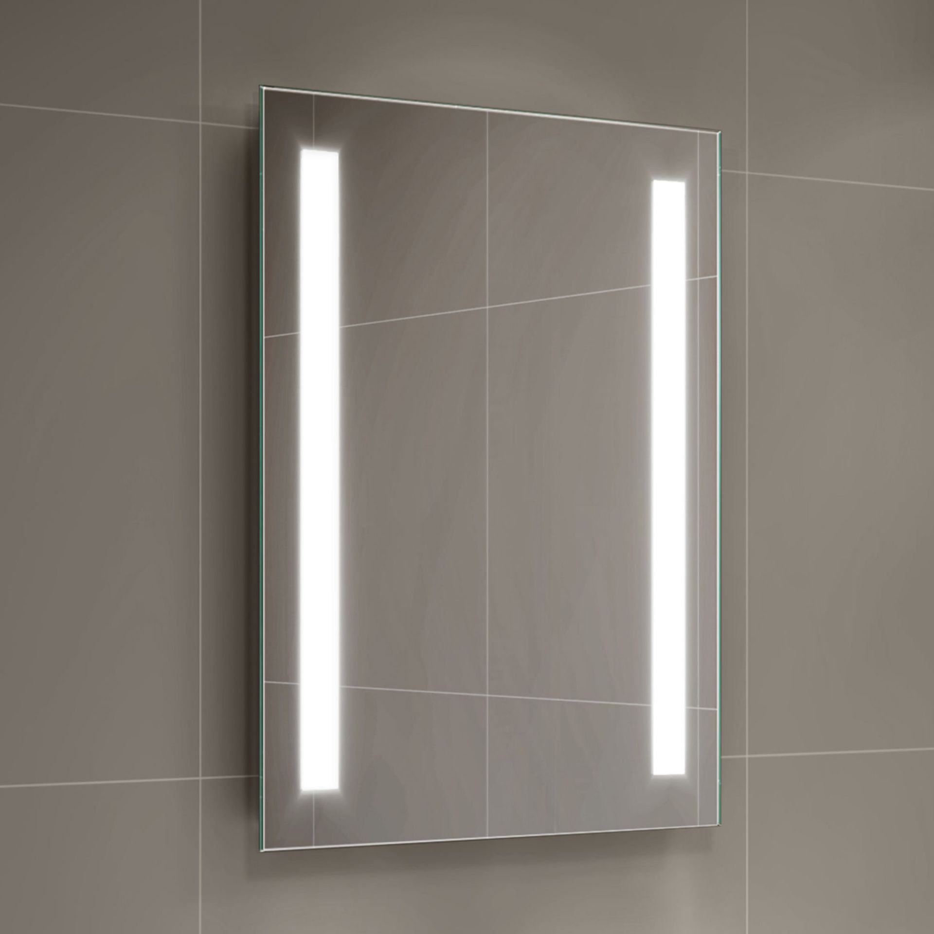 Lot 29 - (LP26) 500x700mm Omega Illuminated LED Mirror - Battery Operated. Energy saving controlled On /