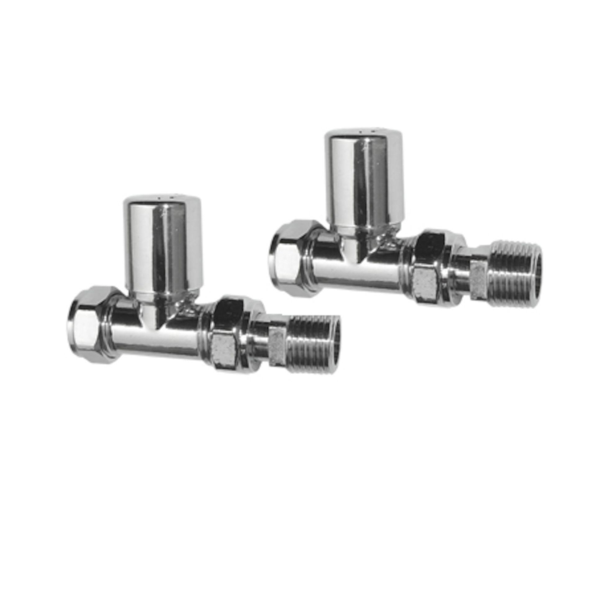 Lot 53 - (NF129) 15mm Standard Connection Angled Polished Chrome Radiator Valves Chrome Plated Solid Brass