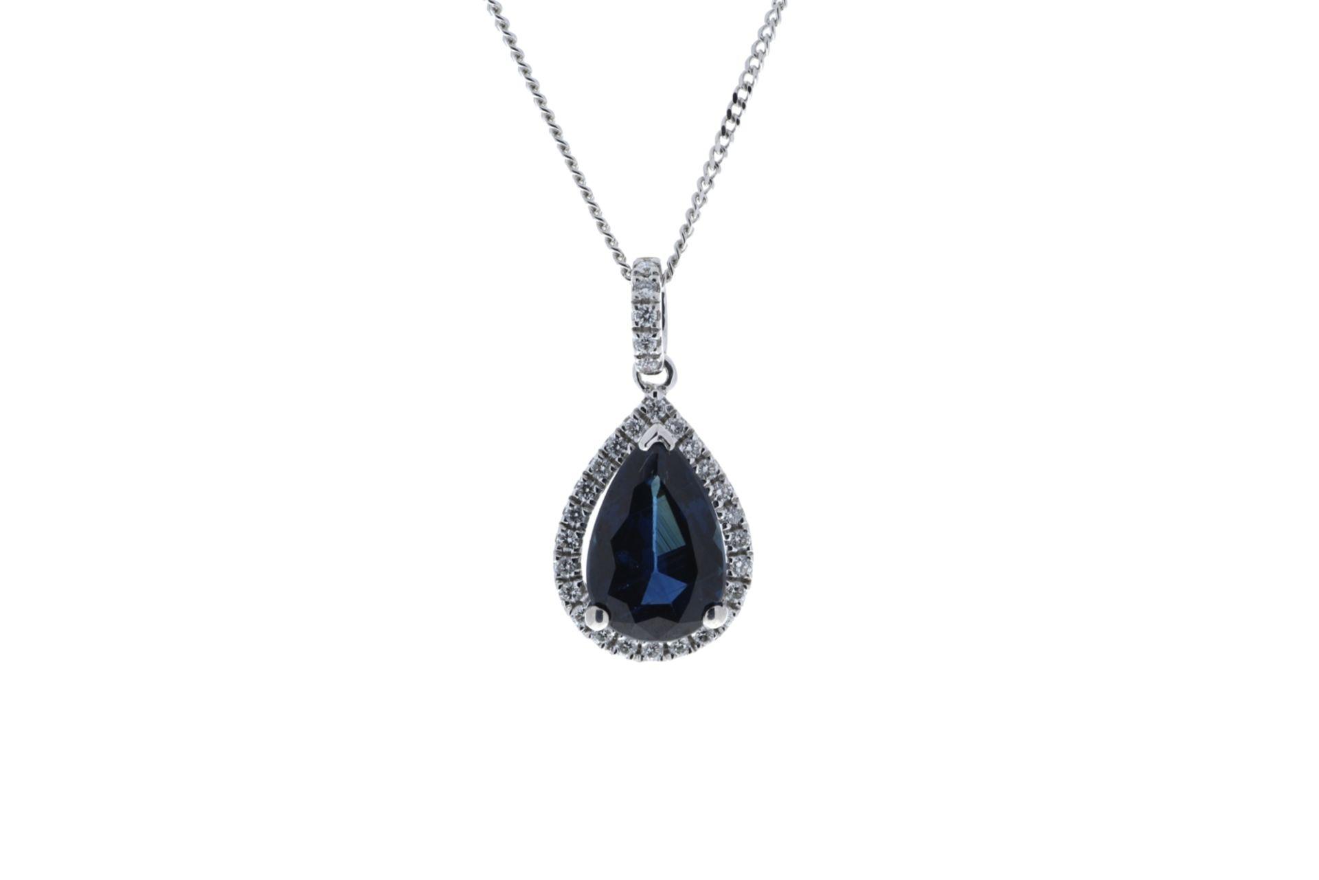 Lot 45 - 18k White Gold Pear Shape Sapphire In Diamond Halo Pendant 0.18k (P 2.35)