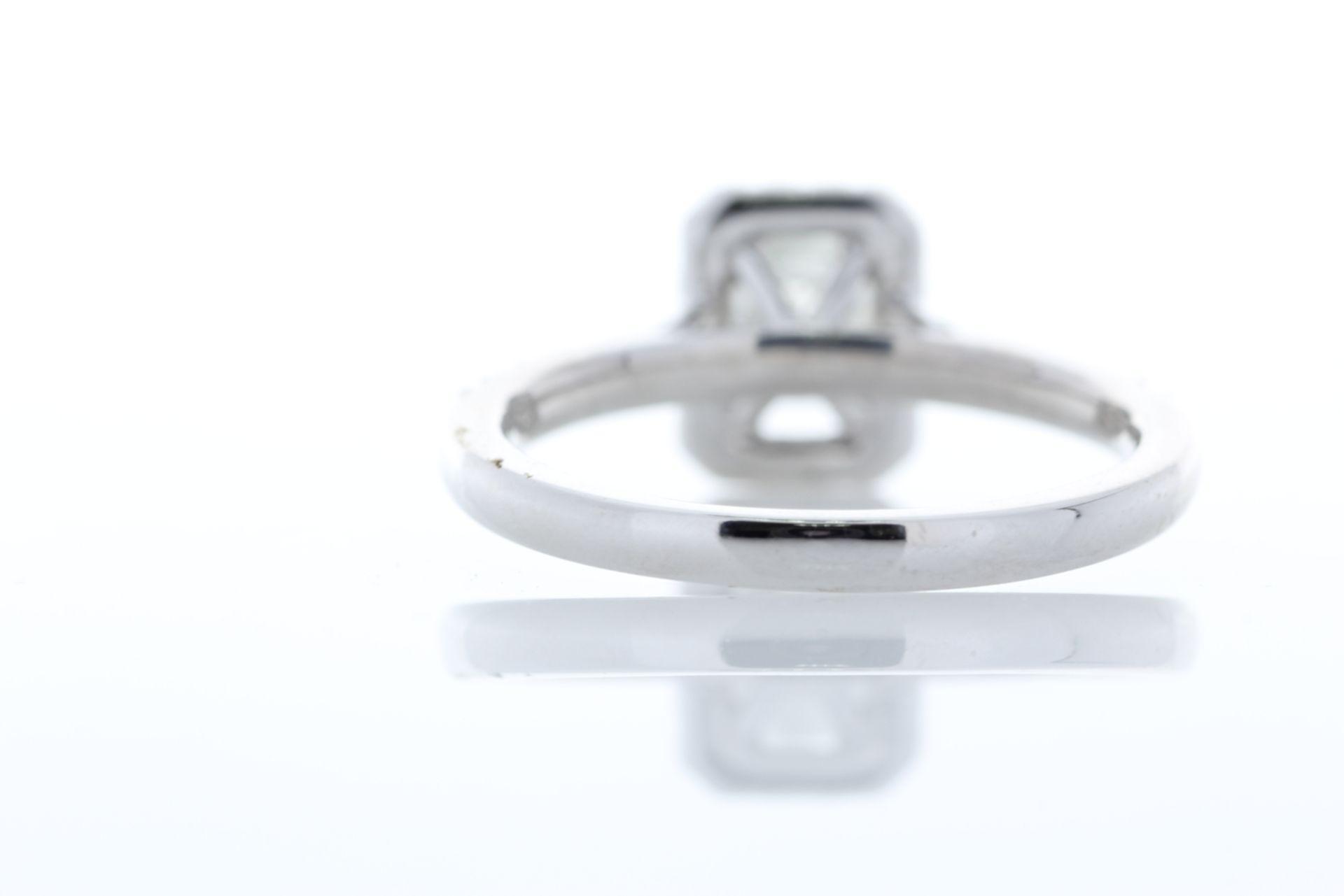 Lot 34 - 18k White Gold Single Stone Radiant Cut With Halo Stone Set Shoulders Diamond Ring (1.01) 1.32