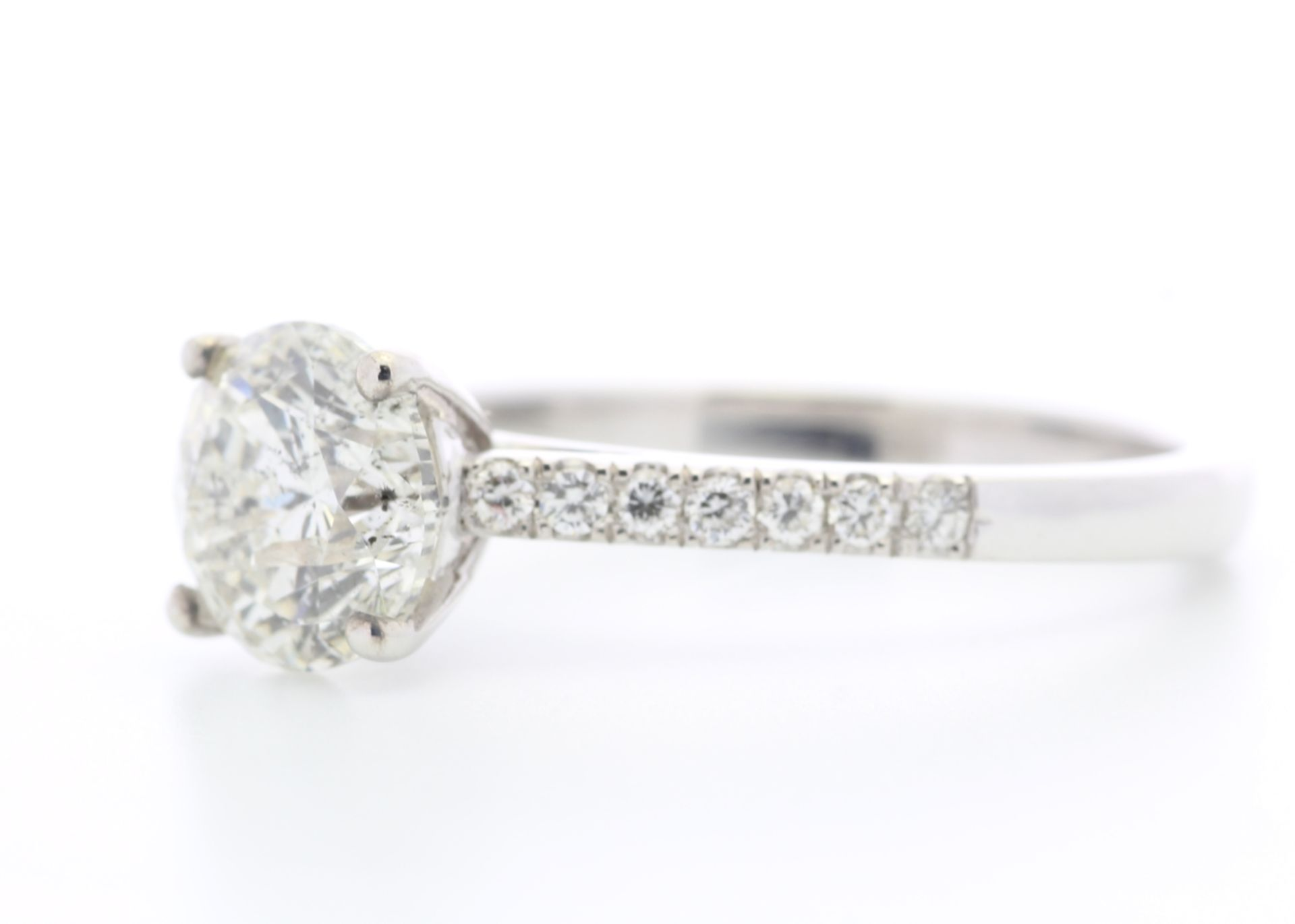 Lot 24 - 18k White Gold Single Stone Claw Set With Stone Set Shoulders Diamond Ring (1.70) 1.87