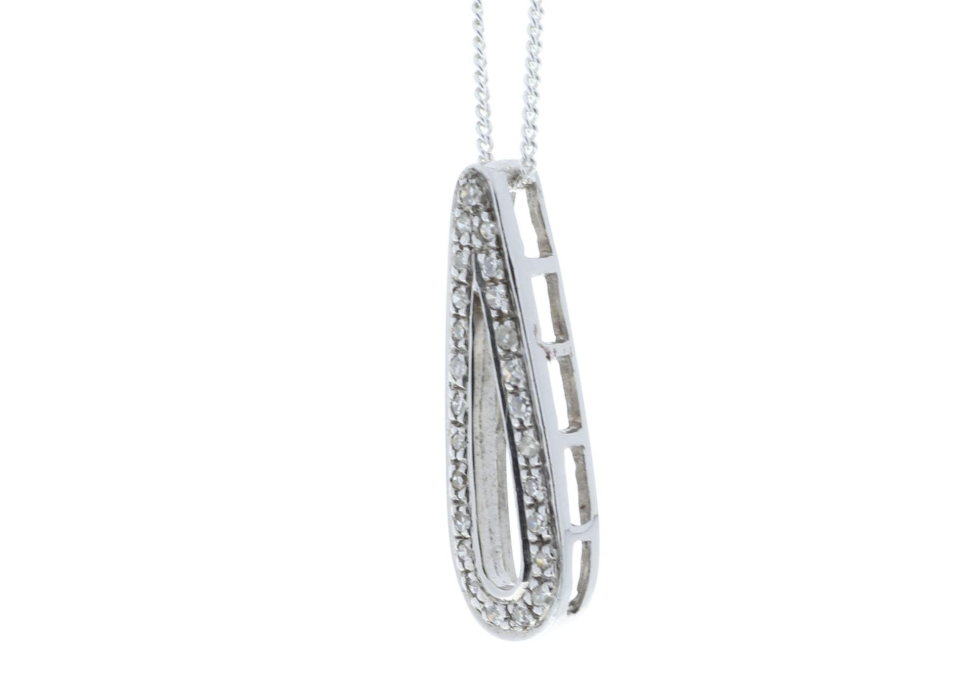 Lot 51 - 9k White Gold Fancy Cluster Teardrop Shape Diamond Pendant 0.12
