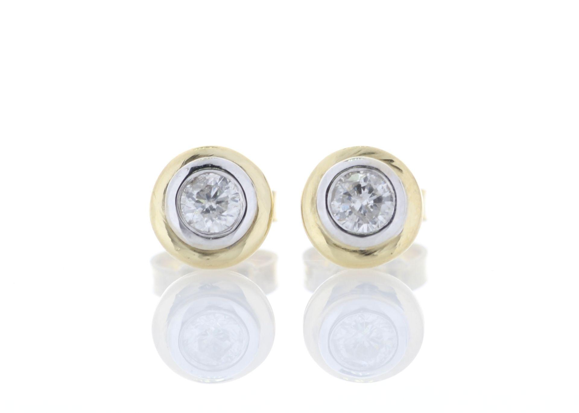 Lot 5 - 18k Yellow Gold Single Stone Rub Over Set Diamond Earring 0.26