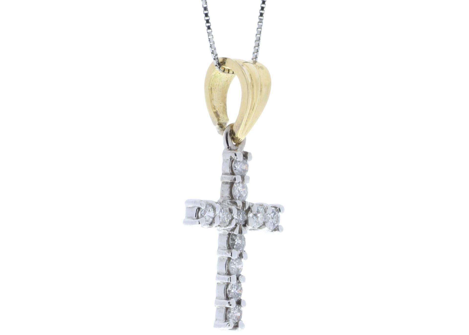 Lot 46 - 18k White Gold Diamond Cross 0.50
