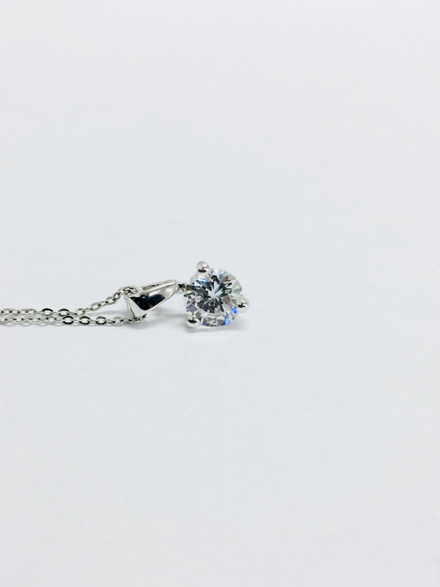 Lot 58 - 0.25ct diamond solitaire pendant set in 18ct gold. Brilliant cut diamond, I colour and si3