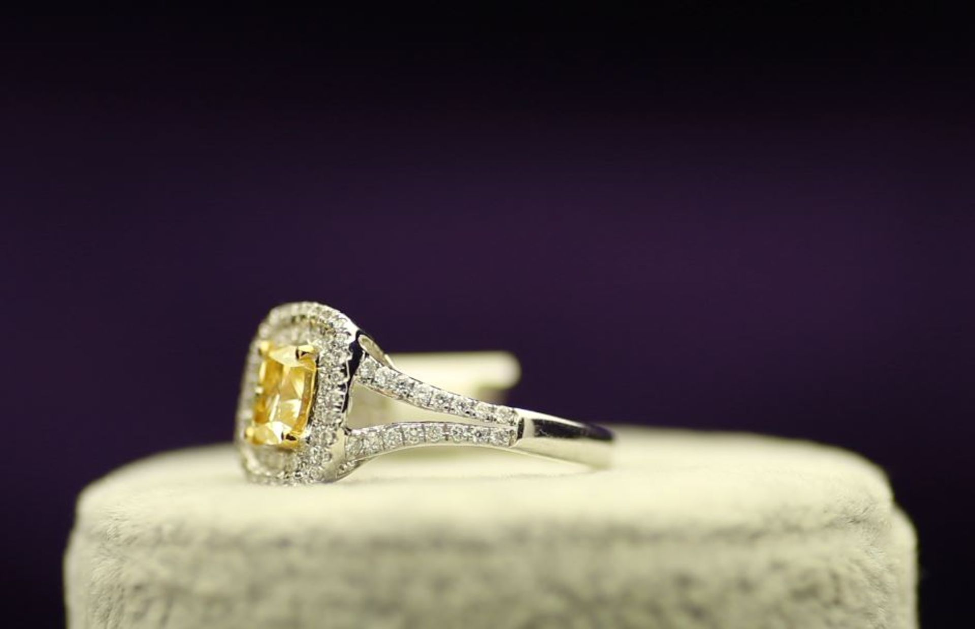Lot 47 - 18k White Gold Single Stone Intense Fancy Yellow With Double Halo Setting Ring 1.01