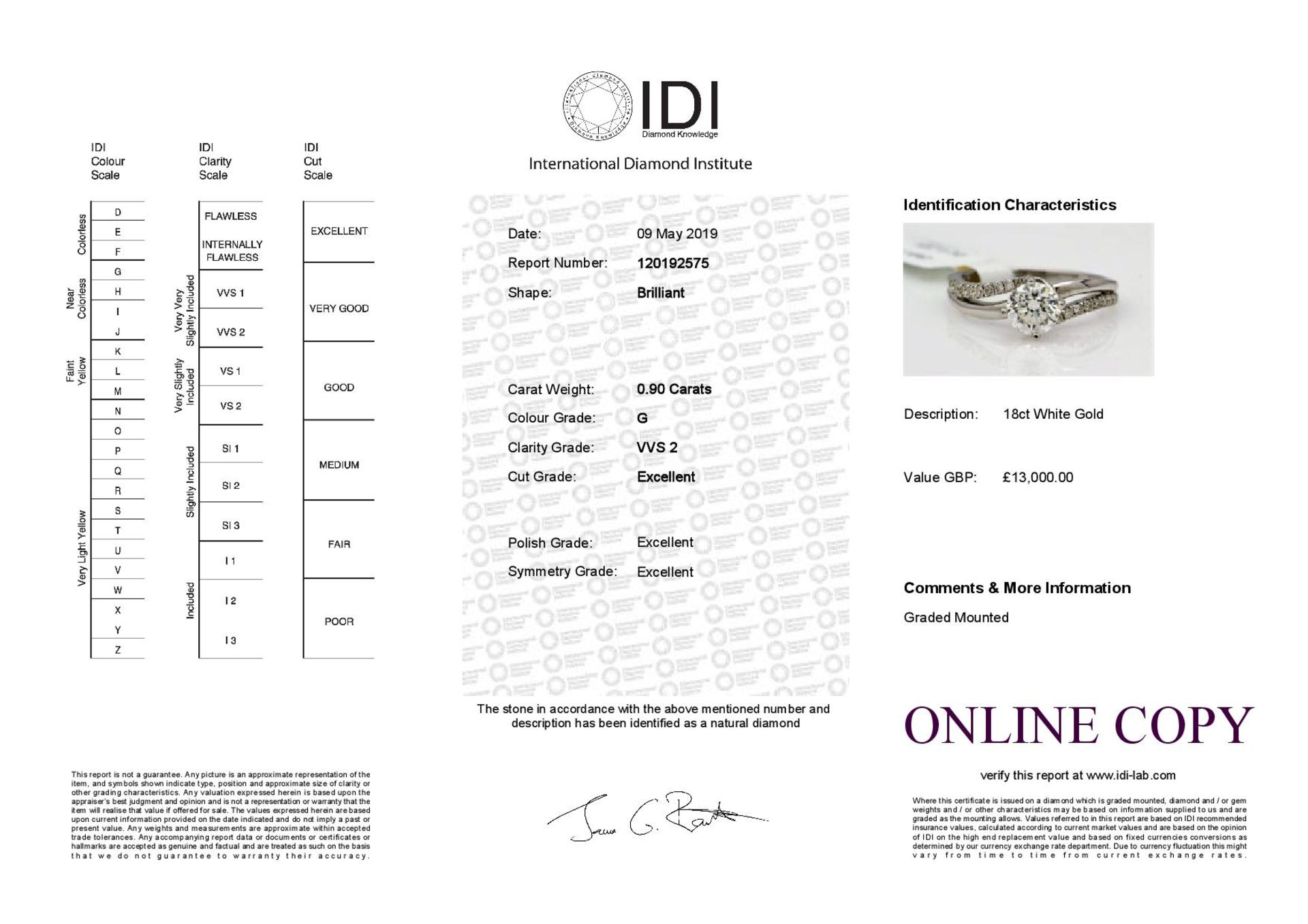 Lot 26 - 18k White Gold Single Stone Prong Set With Stone Set Shoulders Diamond Ring 1.20