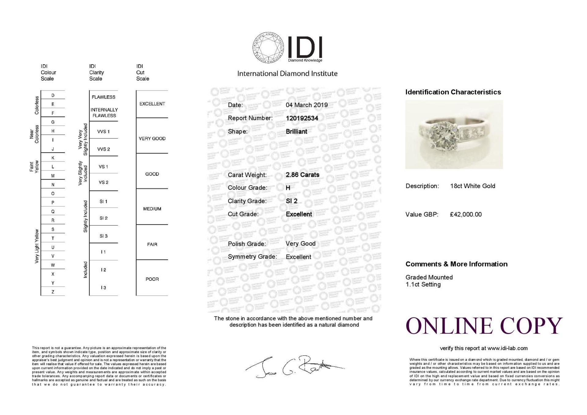 Lot 15 - 18k White Gold Single Stone Prong Set With Stone Set Shoulders Diamond Ring 3.96