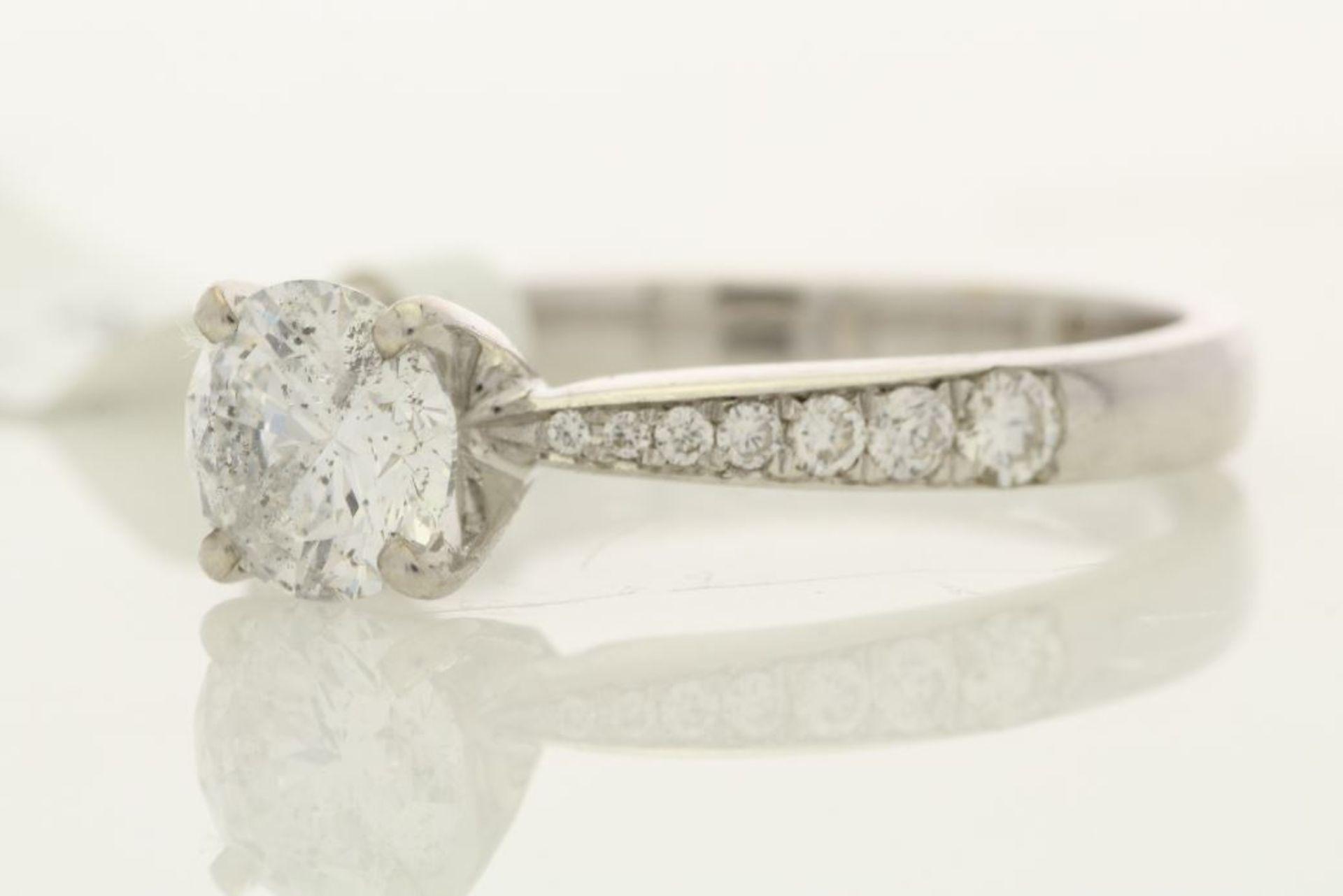 Lot 19 - 18k White Gold Single Stone Prong Set With Stone Set Shoulders Diamond Ring 1.39