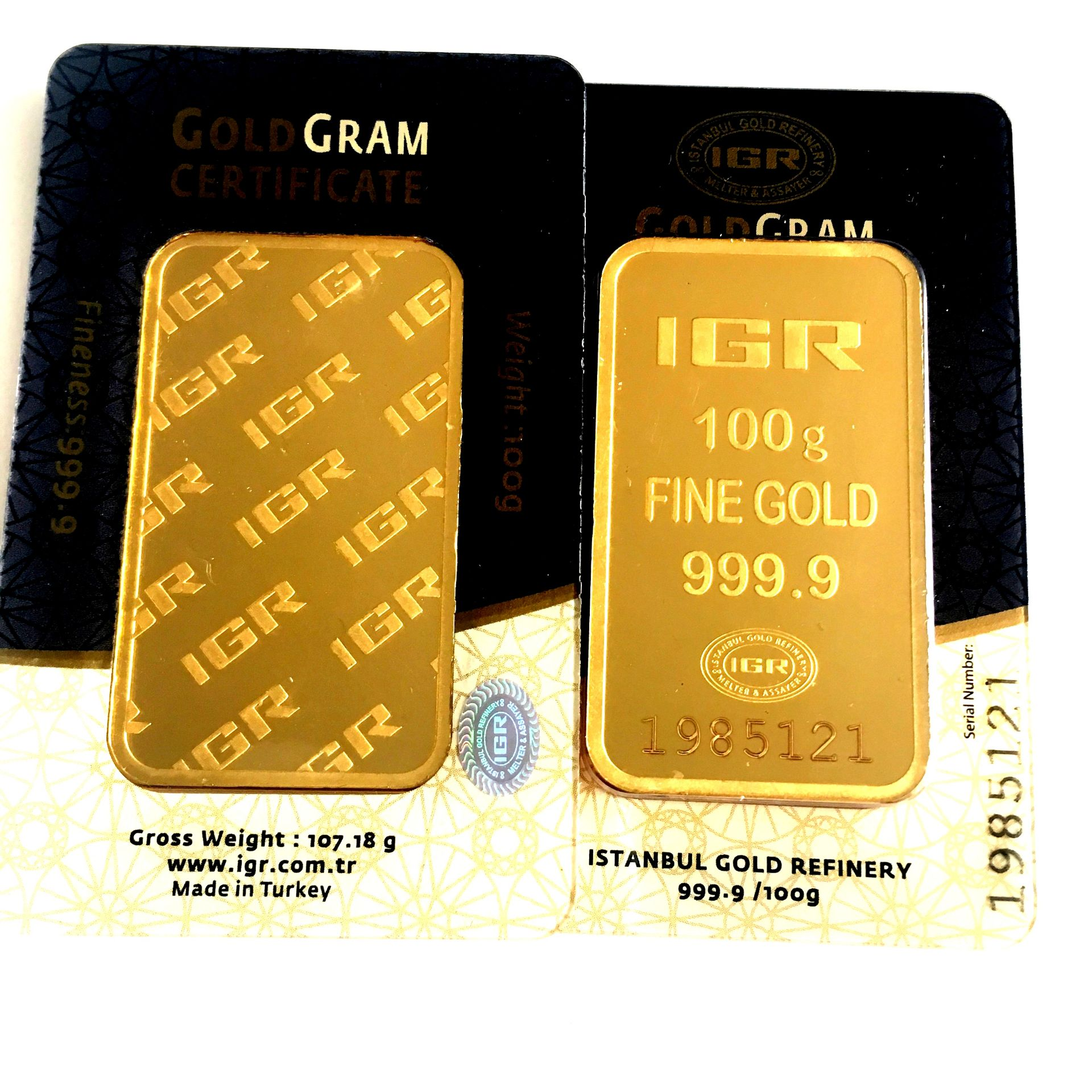 Lot 59 - 2x 100 Gram (Total 200g) 99.99% (24K) Gold Bullion
