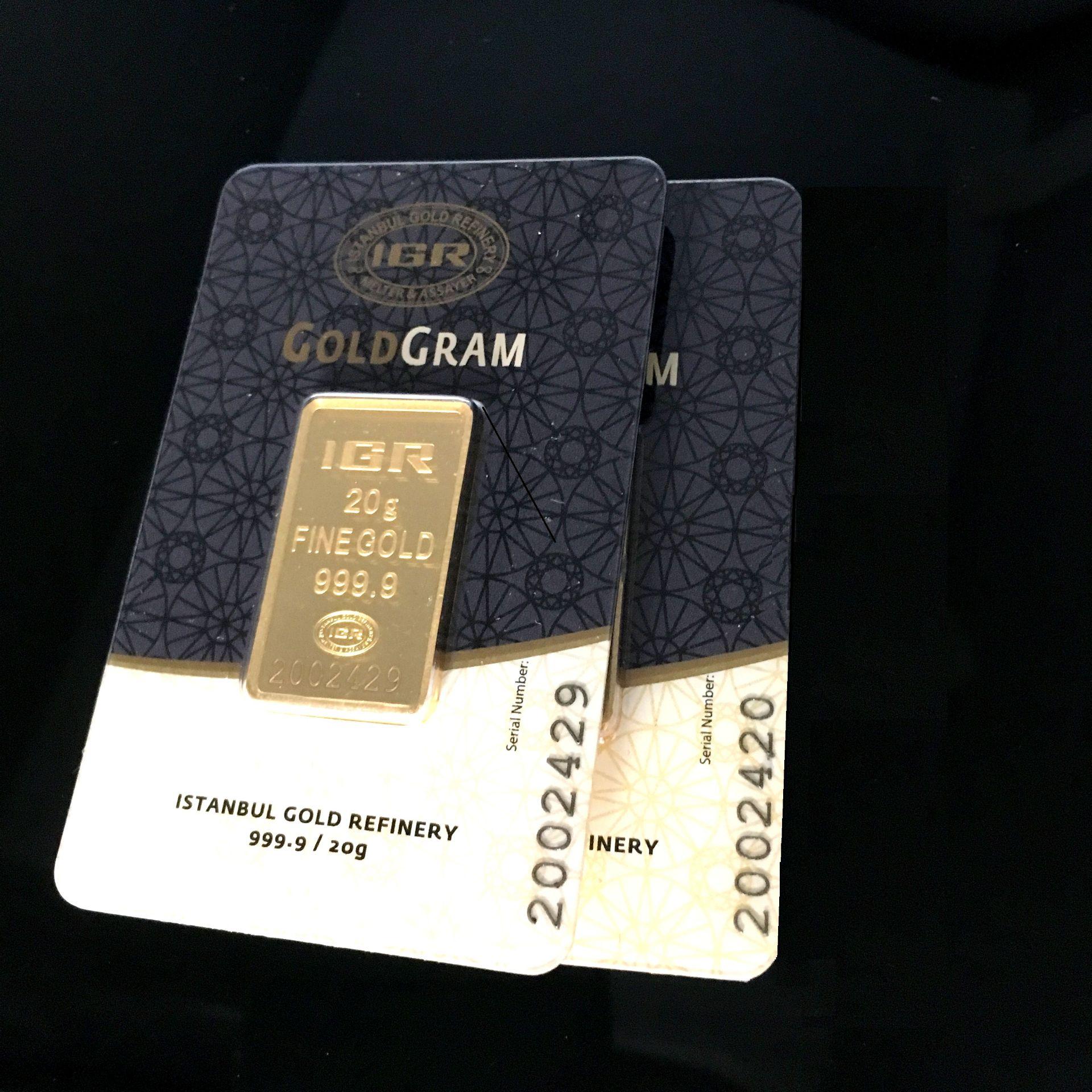 Lot 47 - 2x 20 Gram (Total 40g) 99.99% (24K) Gold Bullion