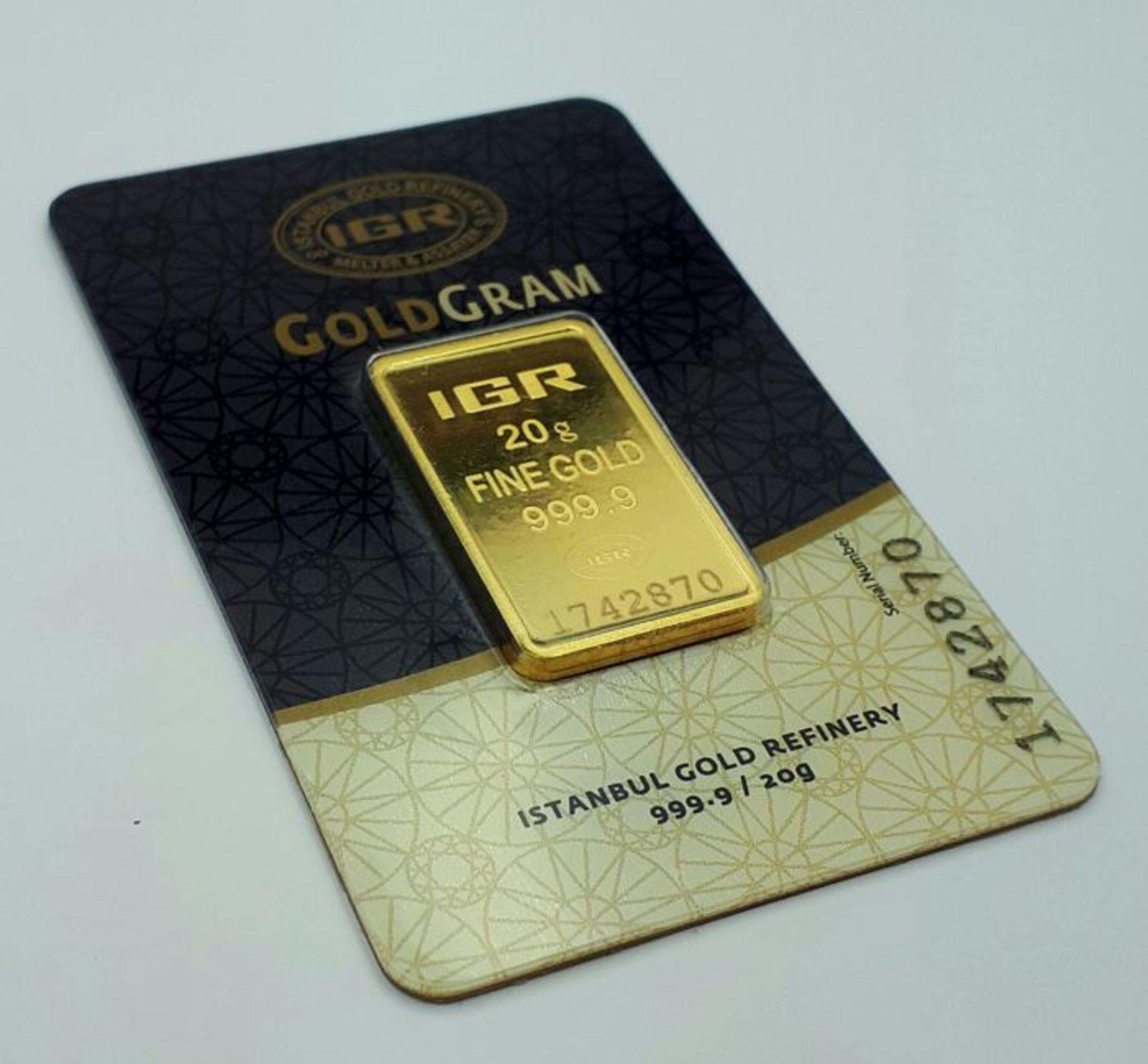 Lot 44 - 20 Gram 99.99% (24K) Gold Bullion