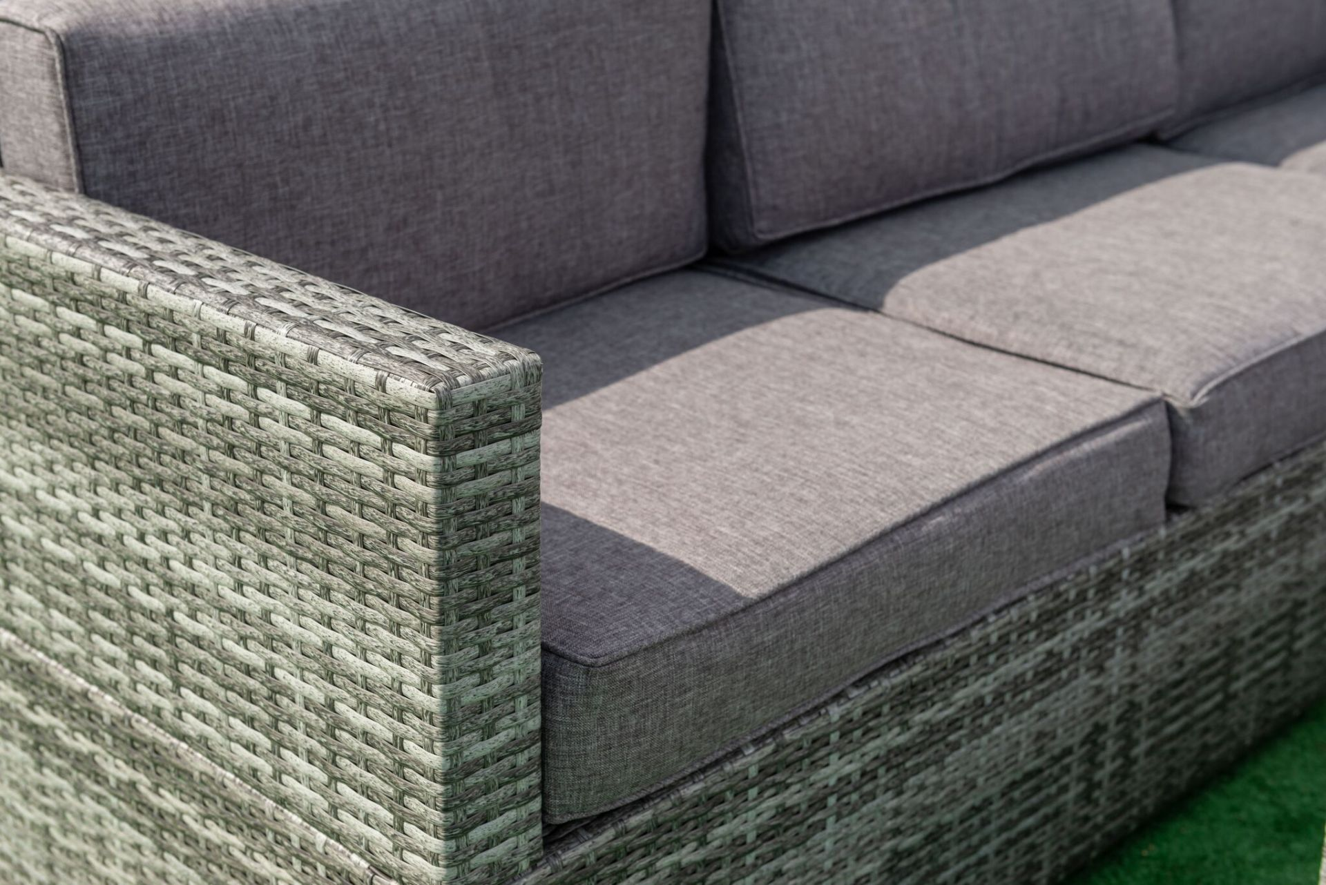 Lot 12 - Newquay Corner Sofa Set in a Mixed Grey Pu Rattan with Contrasting Grey