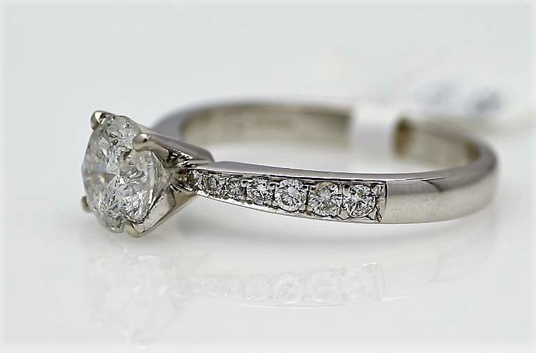 Lot 17 - 18ct White Gold Single Stone Prong Set With Stone Set Shoulders Diamond Ring 1.82