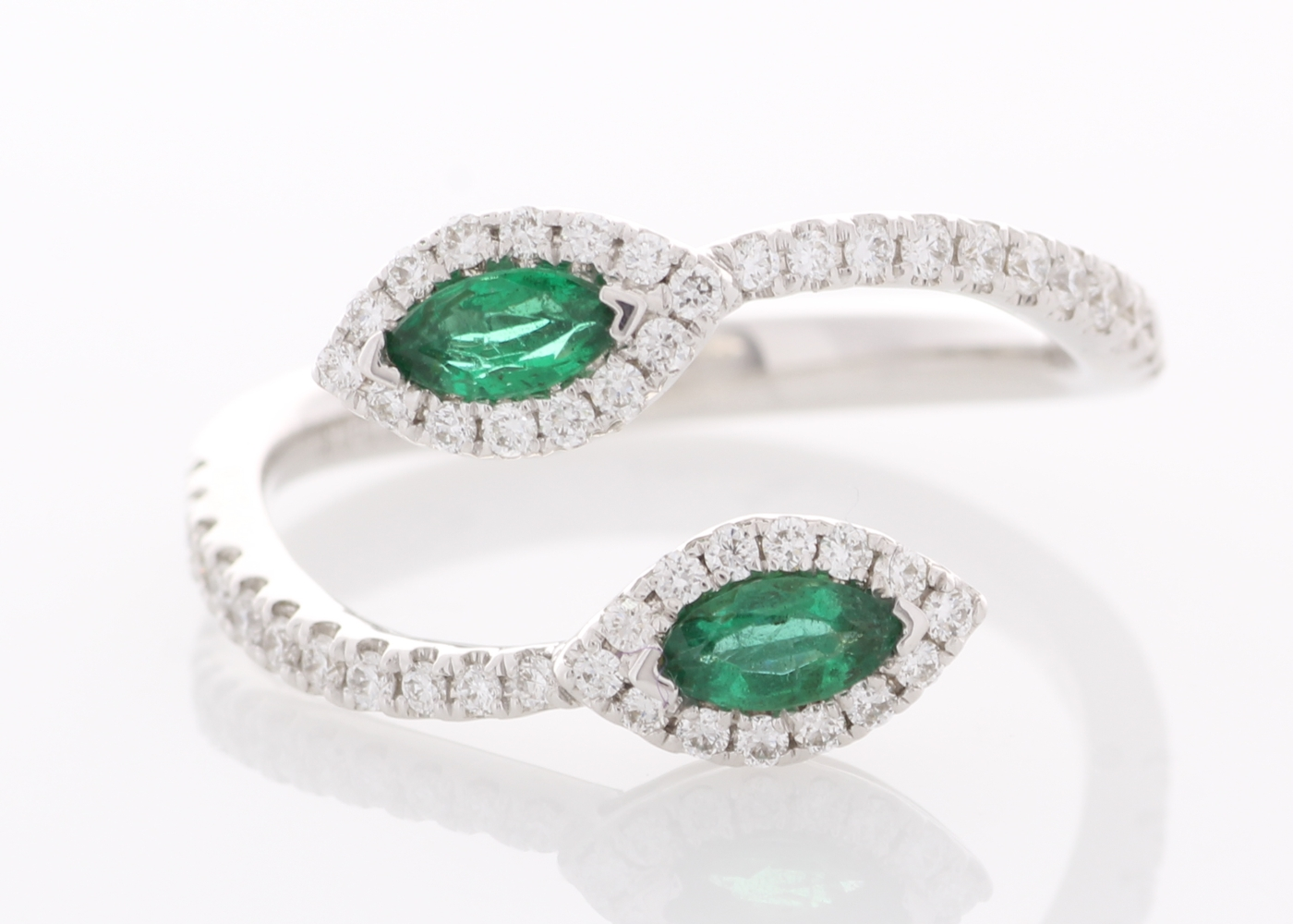 Lot 54 - 18ct White Gold Two Stone Halo Set Diamond And Emerald Ring 0.30ct (0.27ct Emeralds)