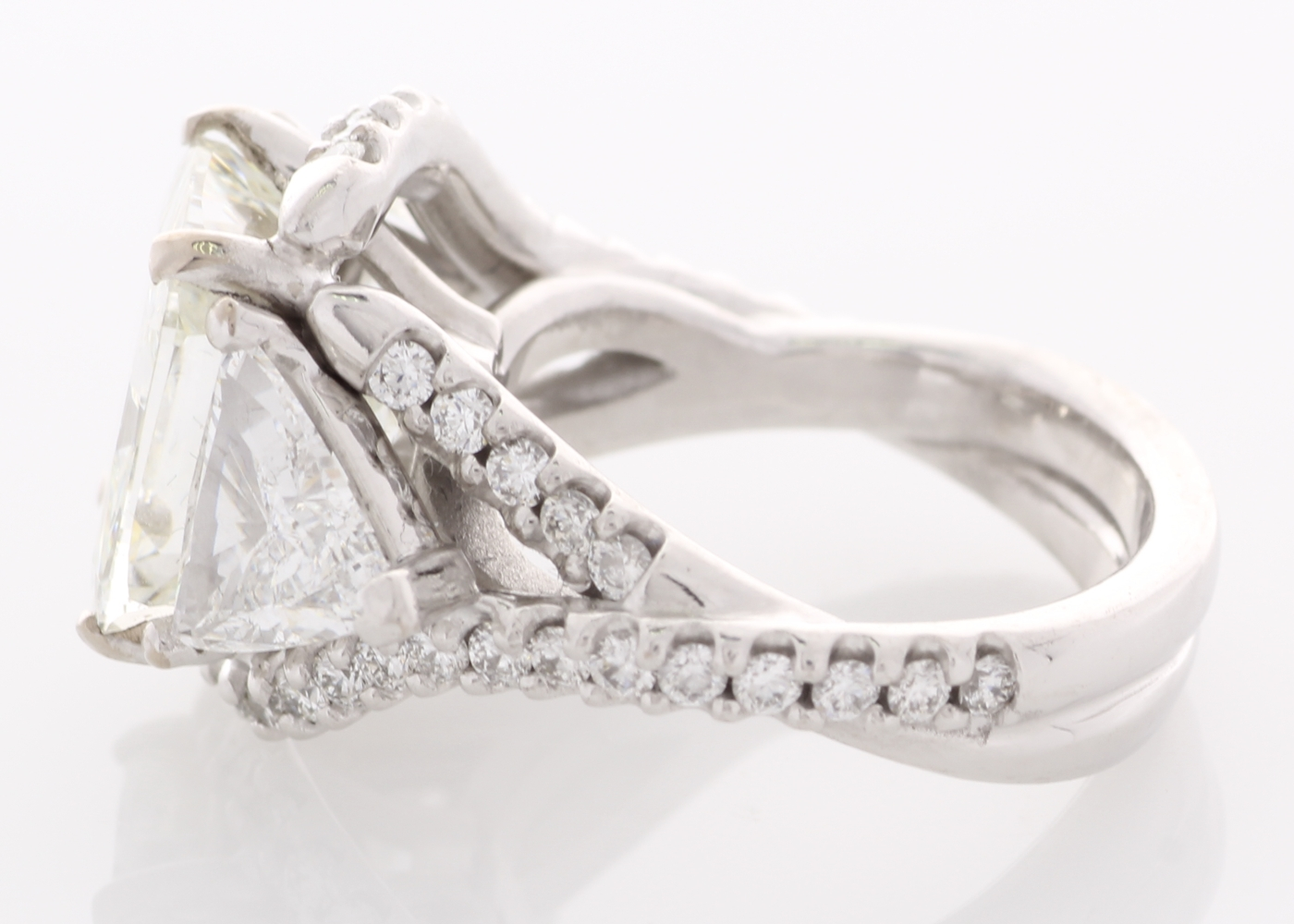 Lot 51 - 18ct White Gold Three Stone With Halo Setting Ring 4.51 Carats