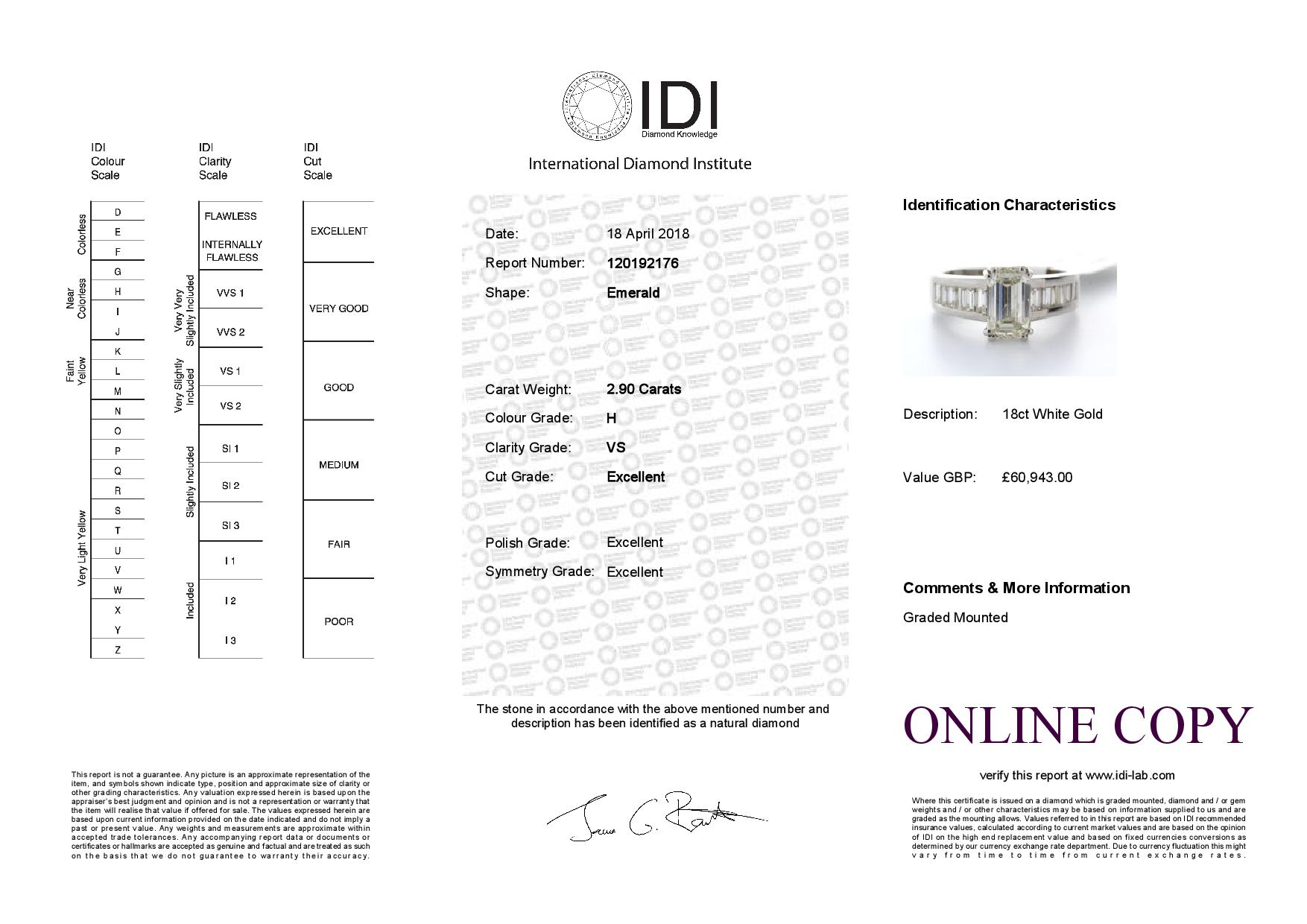 Lot 3 - 18ct White Gold Single Stone Claw Set Emerald Cut With Stone Set Shoulders Diamond Ring (2.05) 2.90