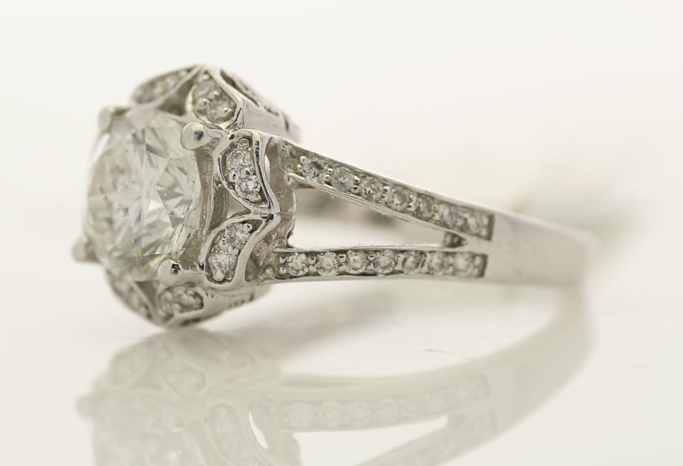 Lot 38 - 18ct White Gold Single Stone With Halo Setting Ring 2.06