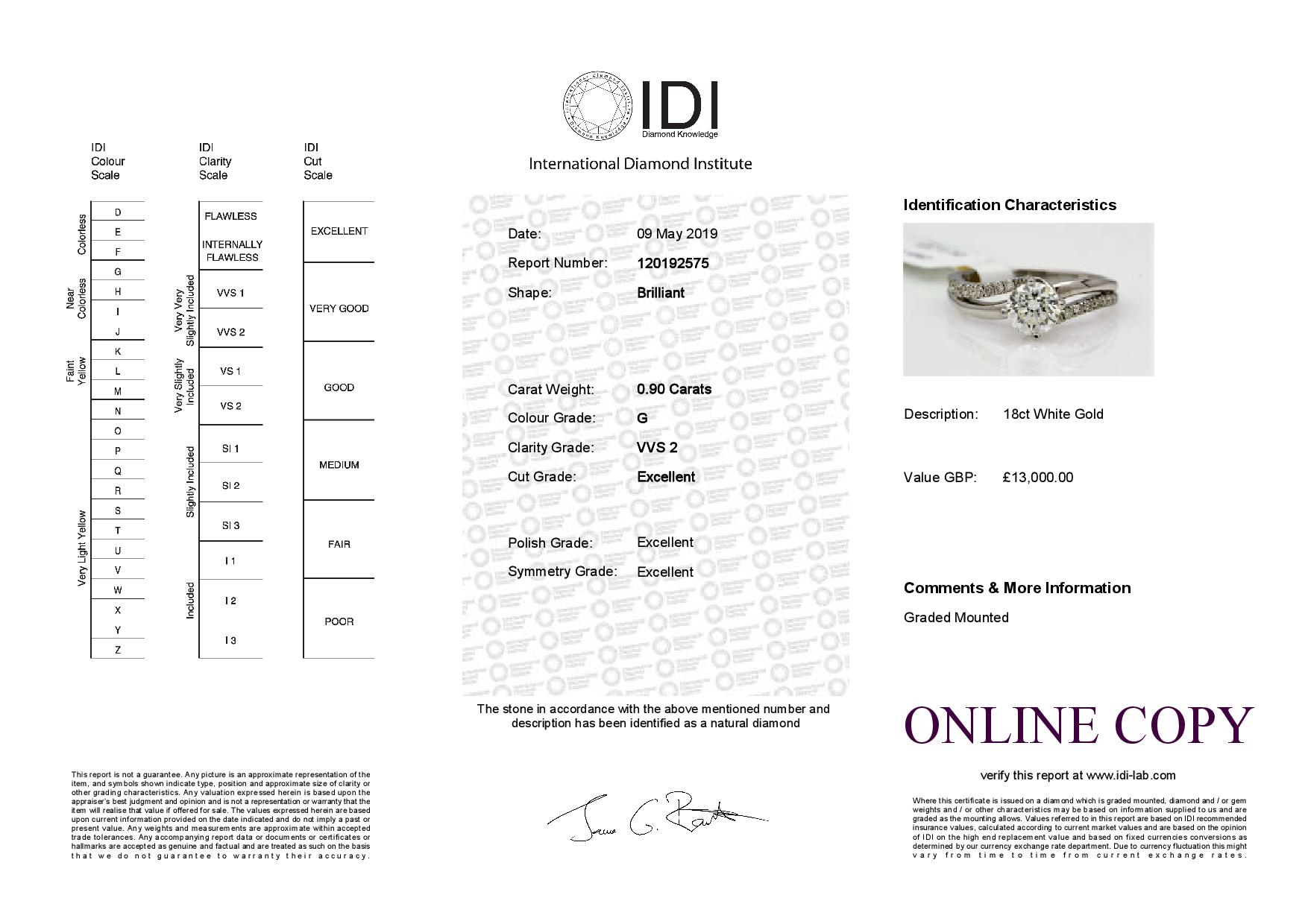 Lot 19 - 18ct White Gold Single Stone Prong Set With Stone Set Shoulders Diamond Ring 1.20