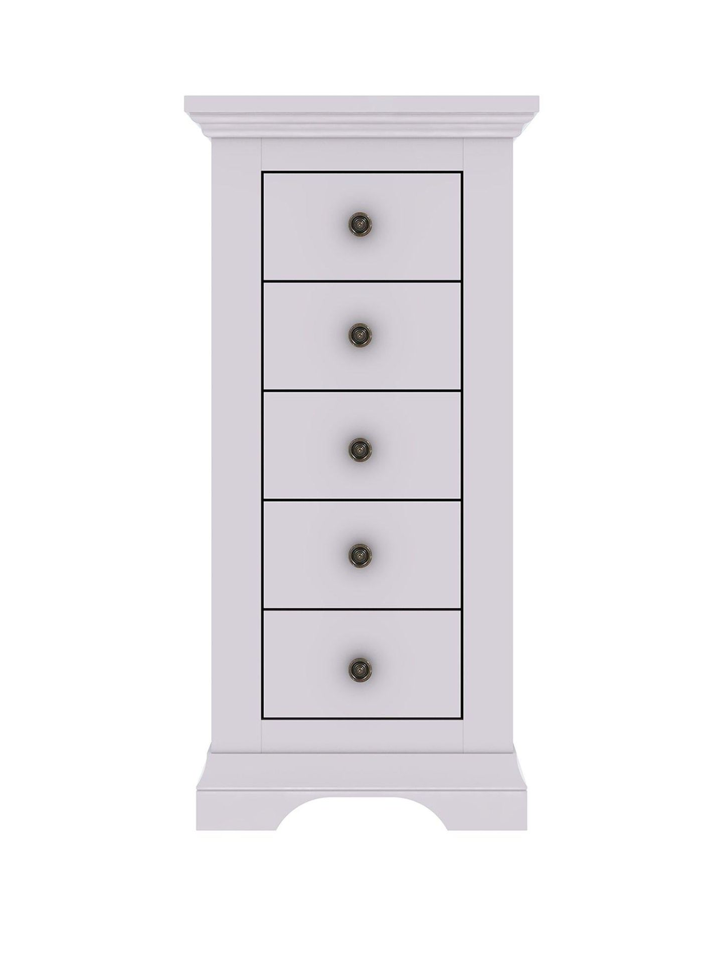 Lot 9 - Boxed Item Ideal Home Normandy 5 Drawers Solid Oak Narrow Chest [Grey] 117X53X41Cm Rrp:¬£315