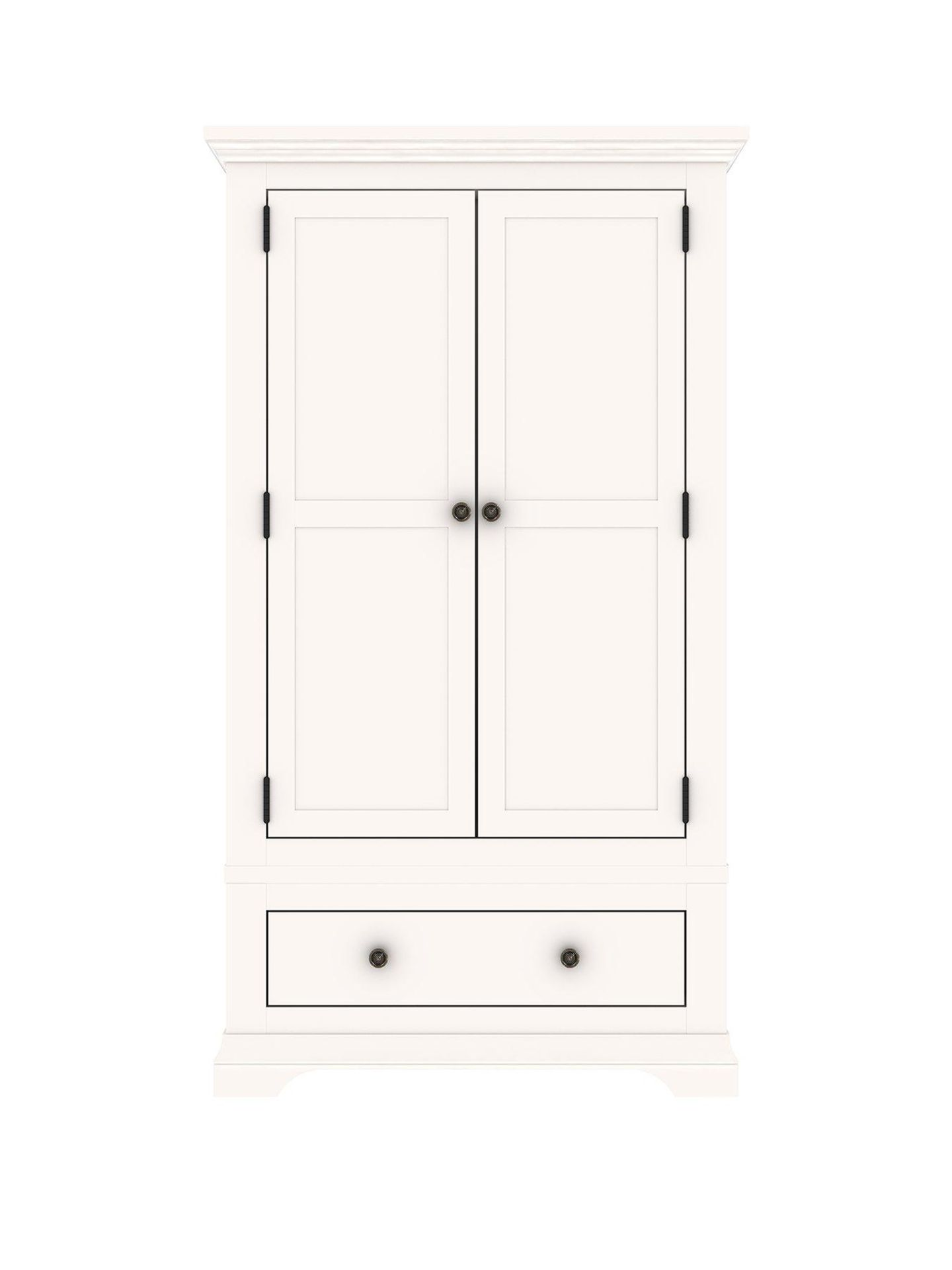 Lot 12 - Boxed Item Ideal Home Normandy 2 Doors 1 Drawers Solid Oak Wardrobe [White] 193X112X58Cm